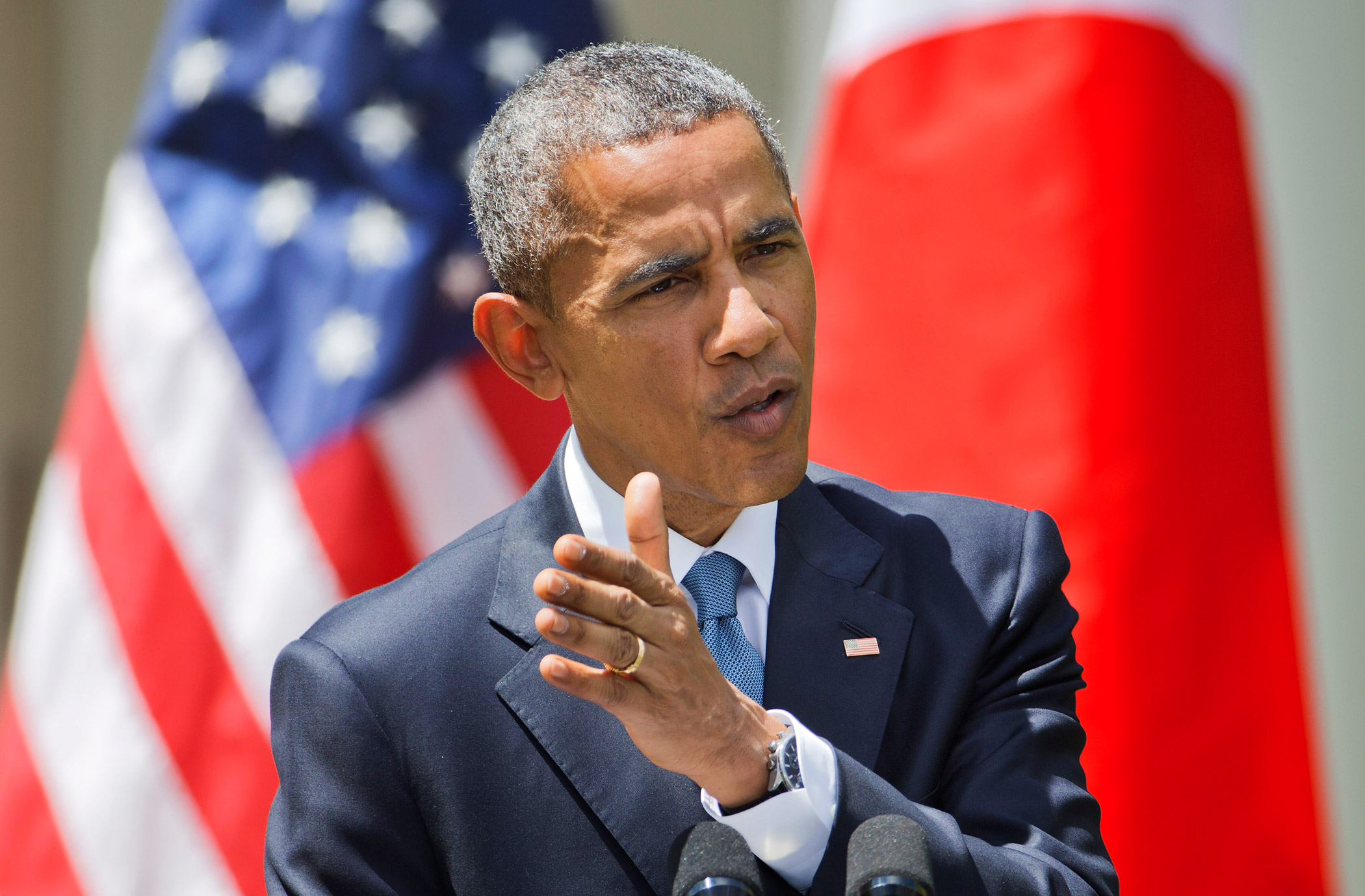 President Barack Obama speaks about recent unrest in Baltimore during a joint news conference with Japanese Prime Minister Shinzo Abe on April 28, 2015, in the Rose Garden of the White House in Washington.