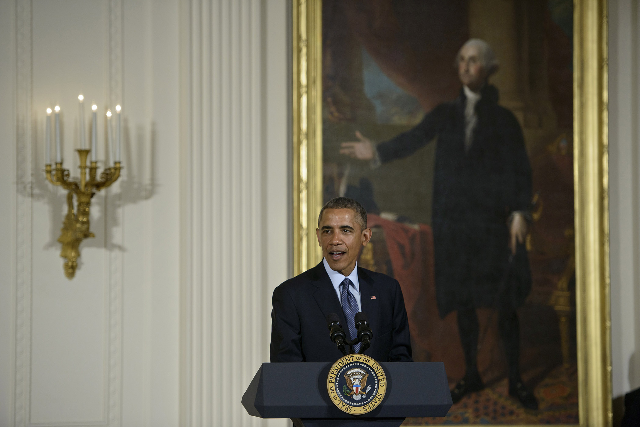 US President Barack Obama speaks during an Easter prayer breakfast in the East Room of the White House April 7, 2015 in Washington, DC.