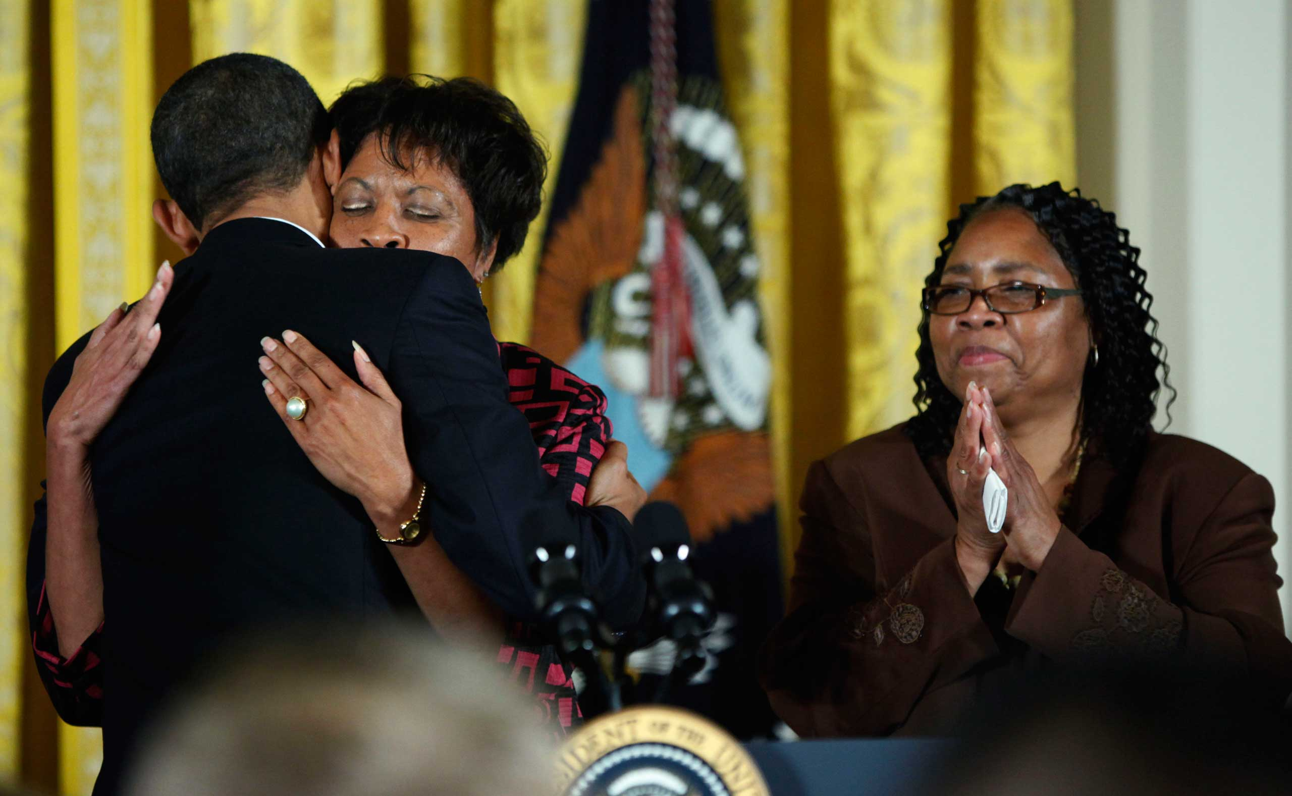 President Barack Obama hugs James Byrd Jr.'s sister, Louvon Harris during a White House reception commemorating the enactment of the Matthew Shepard and James Byrd Jr. Hate Crimes Prevention Act, in Washington on Oct. 28, 2009.