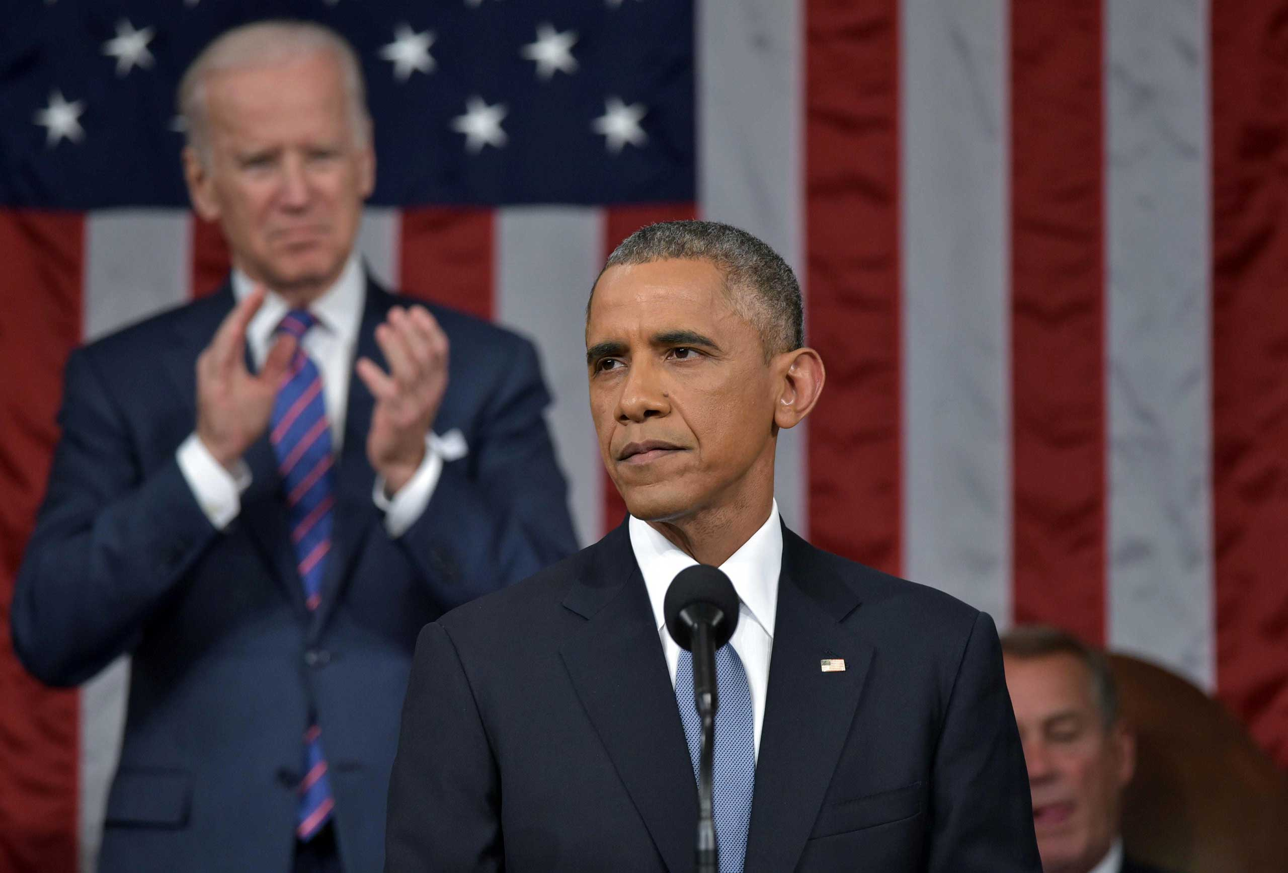 President Barack Obama delivers the State of the Union address at the U.S. Capitol in Washington on Jan. 20, 2015.