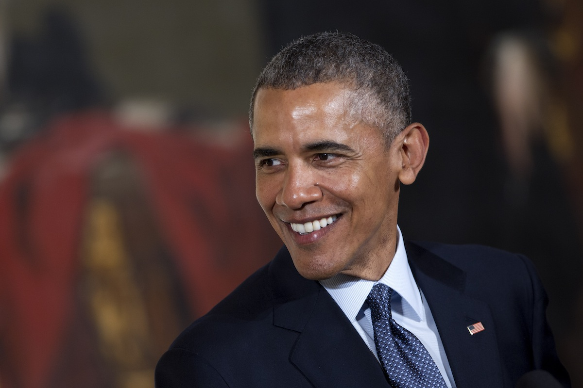 U.S. President Barack Obama smiles while speaking during the Easter Prayer Breakfast in the White House in Washington, D.C., on April 7, 2015.