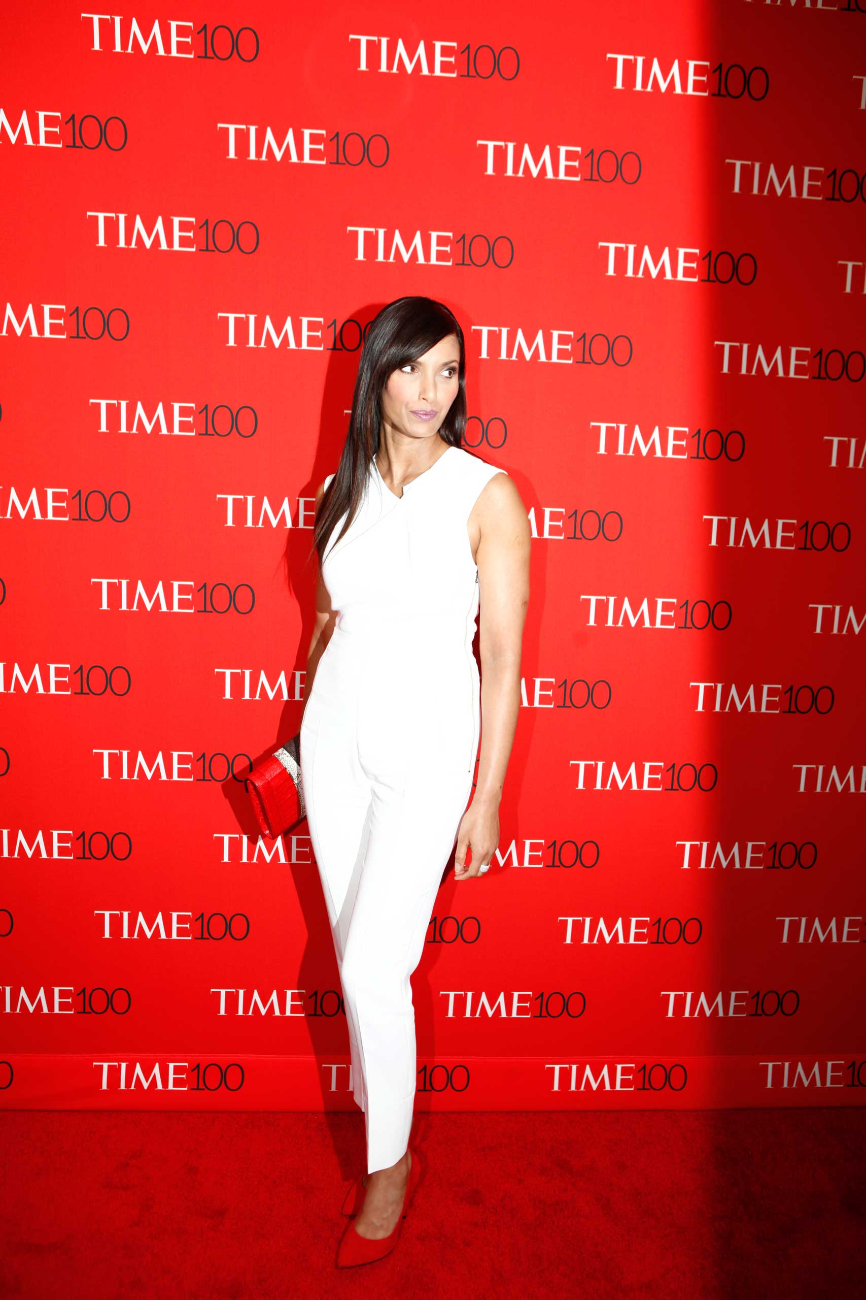 Padma Lakshmi attends the TIME 100 Gala at Jazz at Lincoln Center in New York City on Apr. 21, 2015.