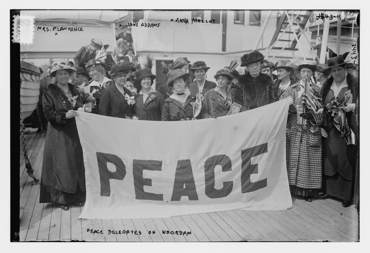 Portrait of American delegates to the International Congress of Women aboard the Noordam, 1915.