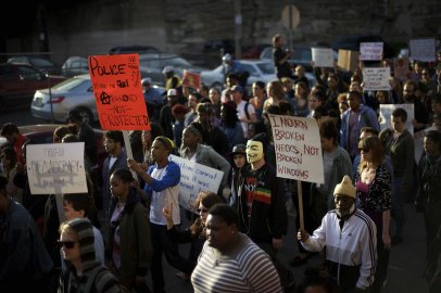 Demonstrators march to protest the death of Freddie Gray, in Philadelphia on April 30, 2015.