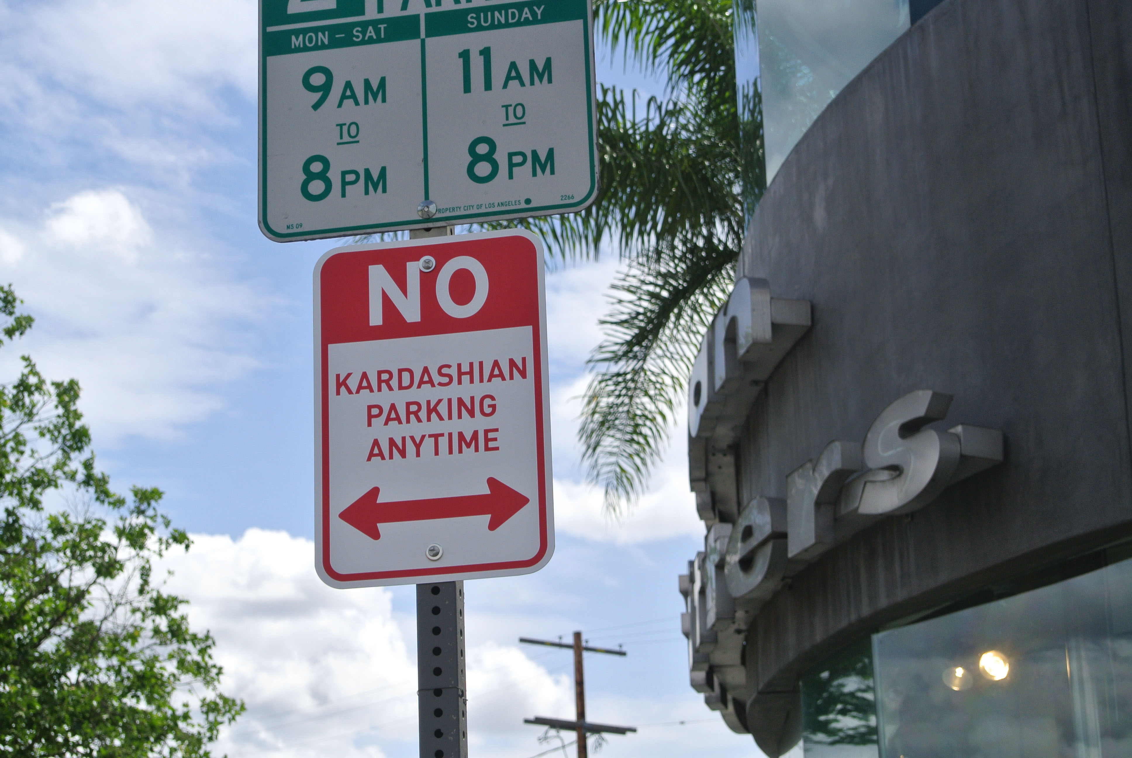 No Kardashian Parking  sign by artist Plastic Jesus in Los Angeles, Calif.