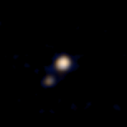 This image of Pluto and its largest moon, Charon, was taken by the Ralph color imager aboard NASA's New Horizons spacecraft on April 9.