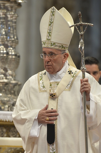 Pope Francis leads a Chrism mass for Holy Thursday on  April 2, 2015 at St. Peter's basilica in Vatican.