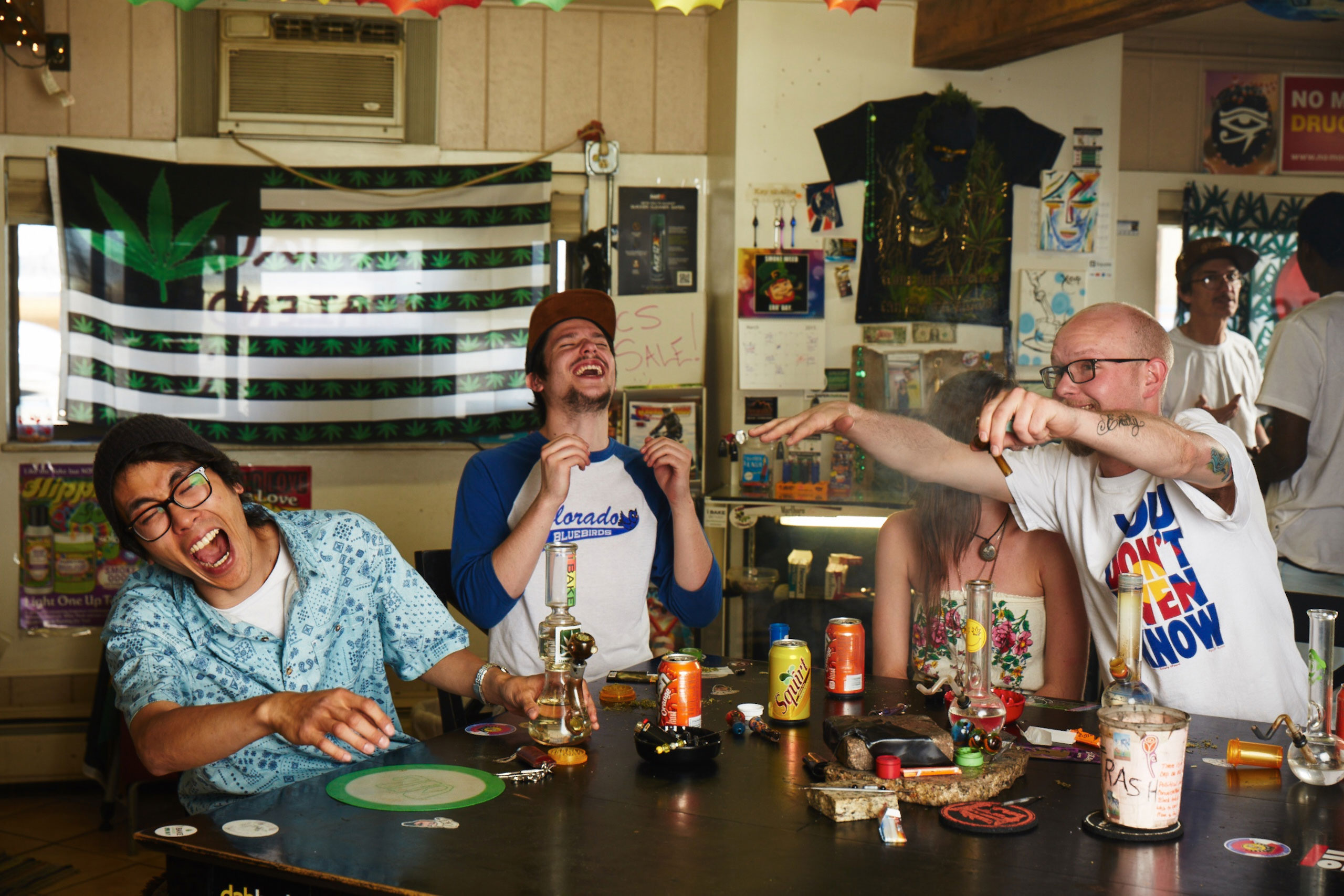 "<b>From left to right, Sean Chan, 23, Jordan Lenhard, 23, Kim Lefebure, 21, Ben Daily, 25, Charles Sanchez, 52.</b> Lenhard: ""The key benefits of marijuana for me are the pain relief after long days, as well as  an alcohol substitute for stress relief which significantly helps me handle my busy lifestyle."""