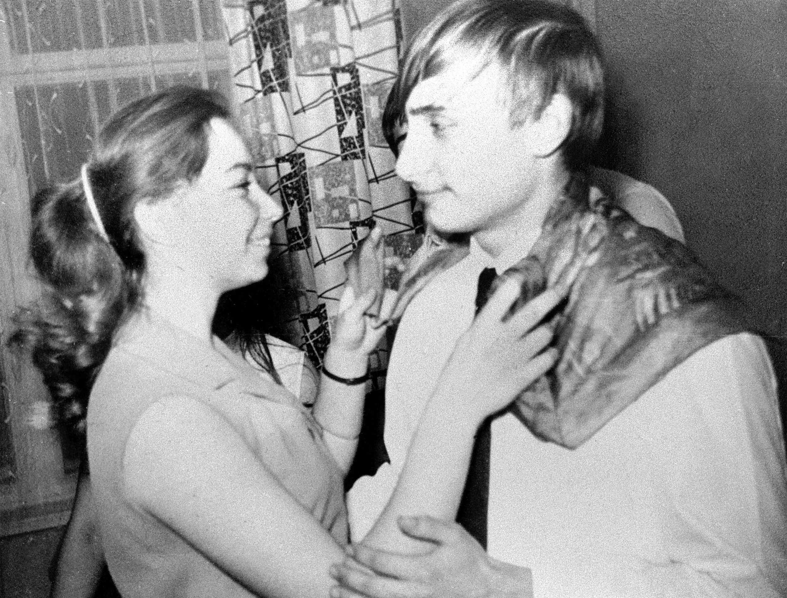 Vladimir Putin dances with his classmate, Elena, during a party in St. Petersburg, then called Leningrad, in 1970.