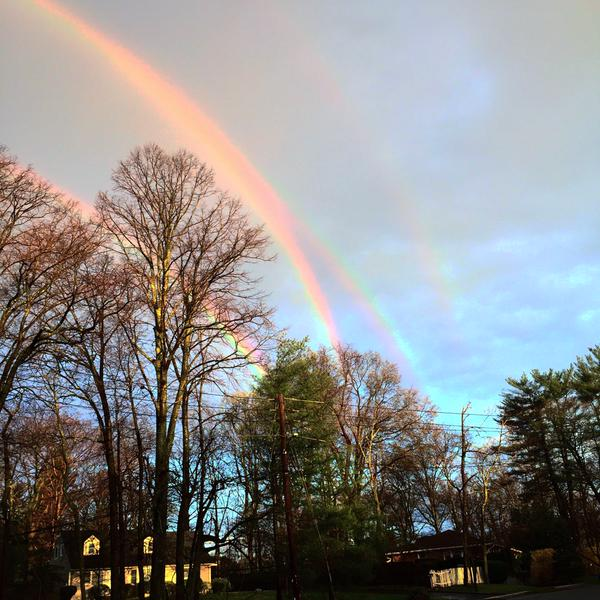 Quadruple rainbow spotted at the LIRR station in Glen Cove, N.Y. on April 21, 2015.