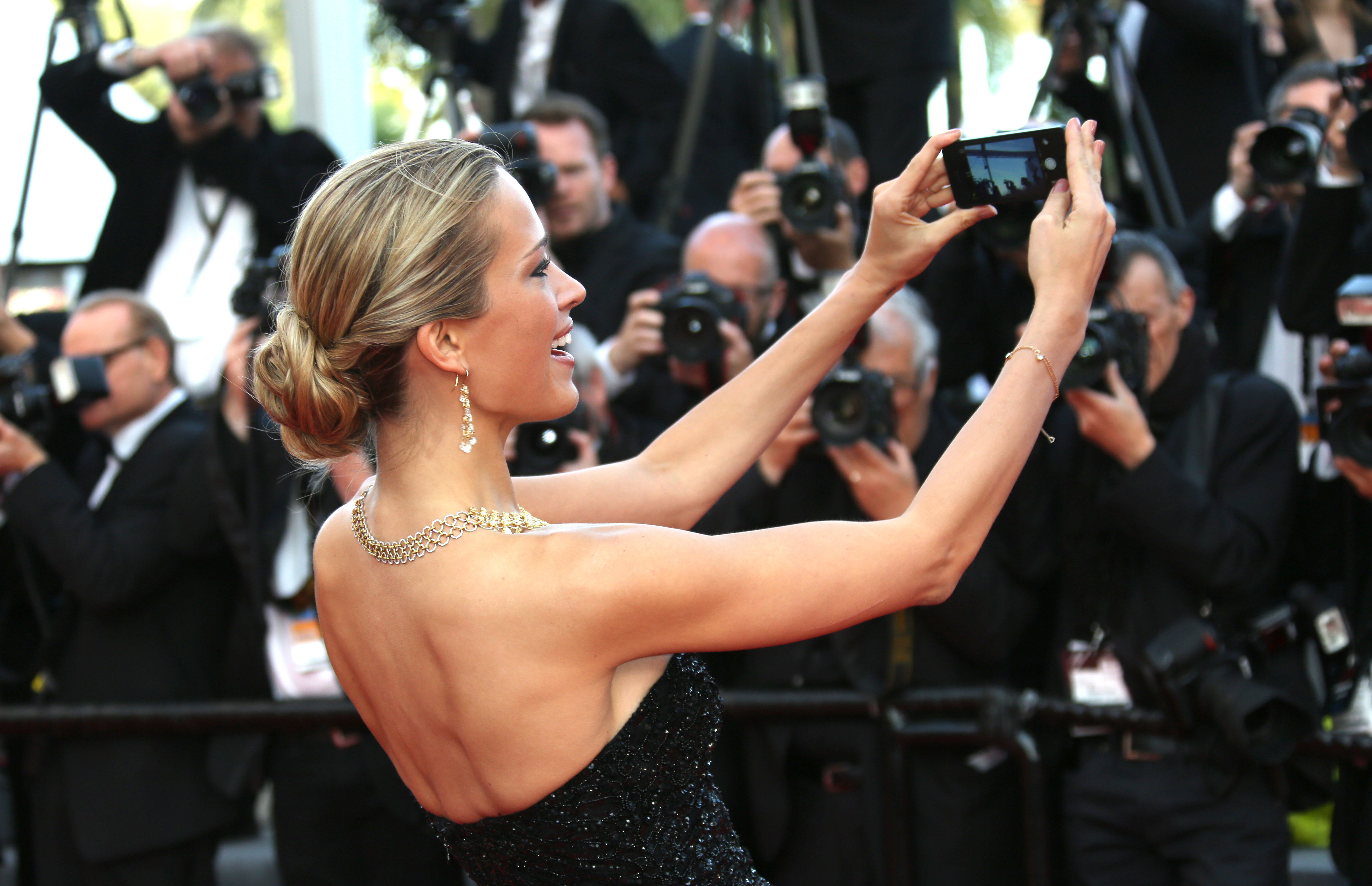 Petra Nemcova on the red carpet for the screening of Two Days, One Night (Deux jours, une nuit) at the 67th international film festival, Cannes, southern France, Tuesday, May 20, 2014. (Photo by Joel Ryan/Invision/AP)