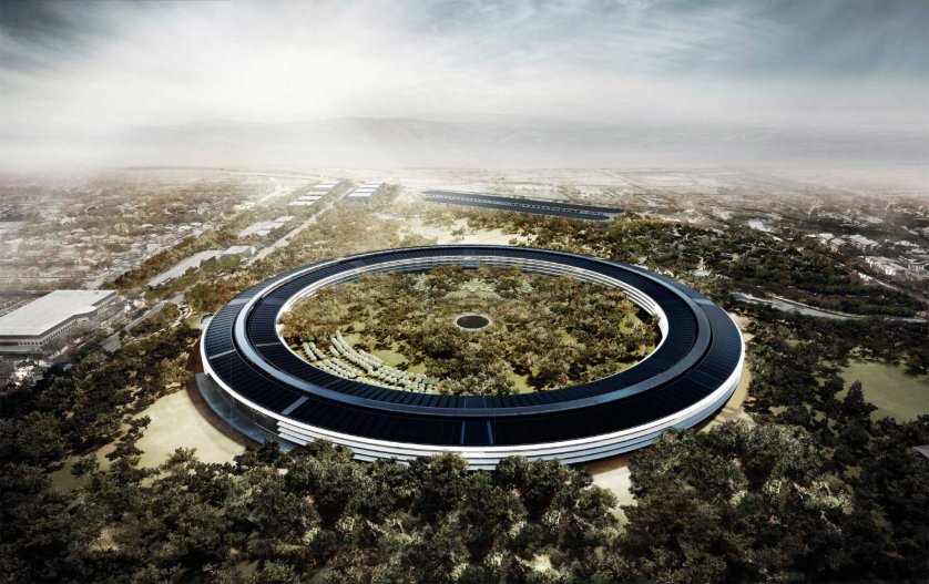 Apple Cupertino, Calif., The four-story circular building, to be completed in 2016 is designed to house some 12,000 employees.