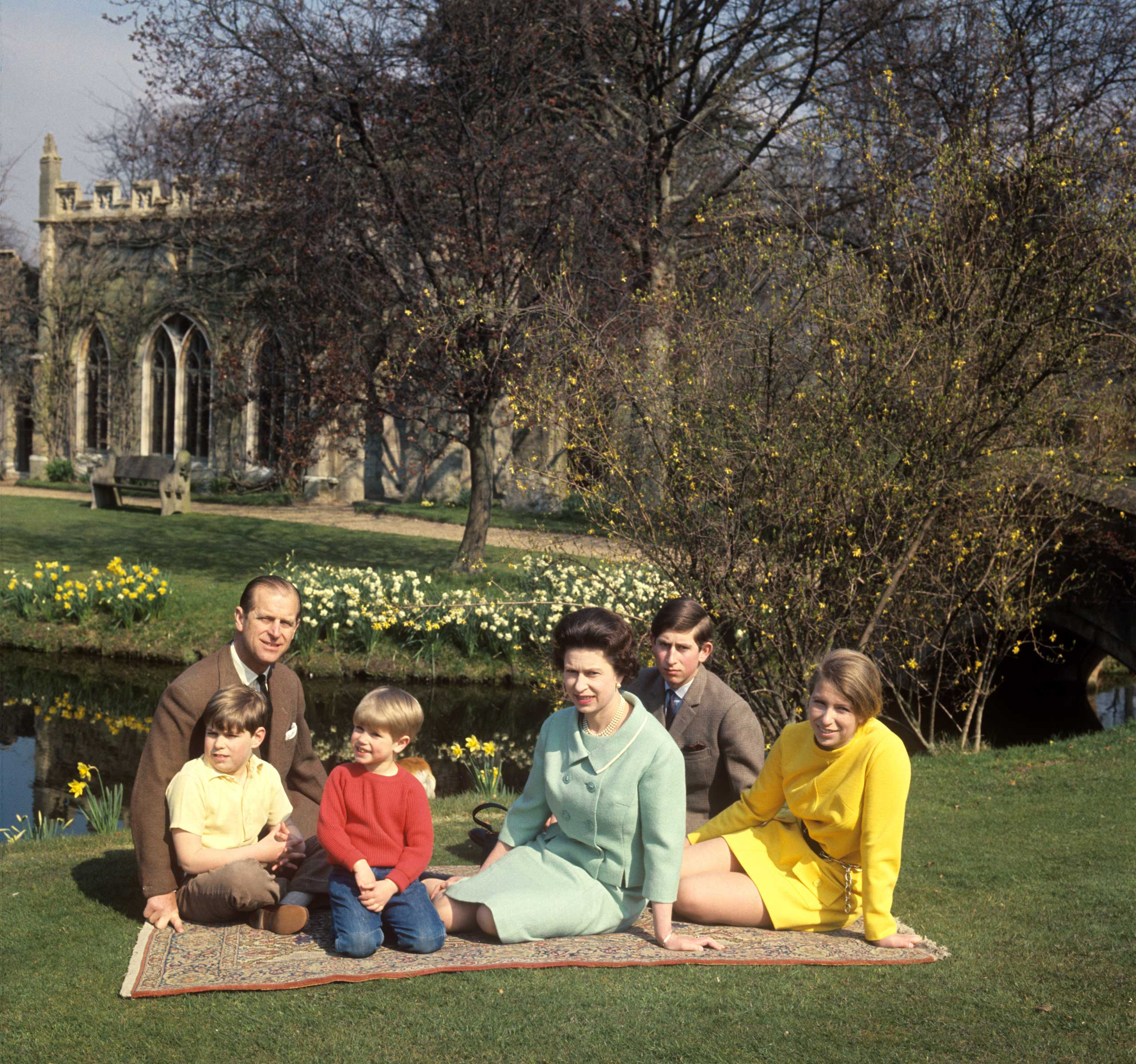 THE WINDSORS: Prince Philip, Prince Andrew, Prince Edward, Queen Elizabeth II, Prince Charles and Princess Anne at Frogmore, Windsor.