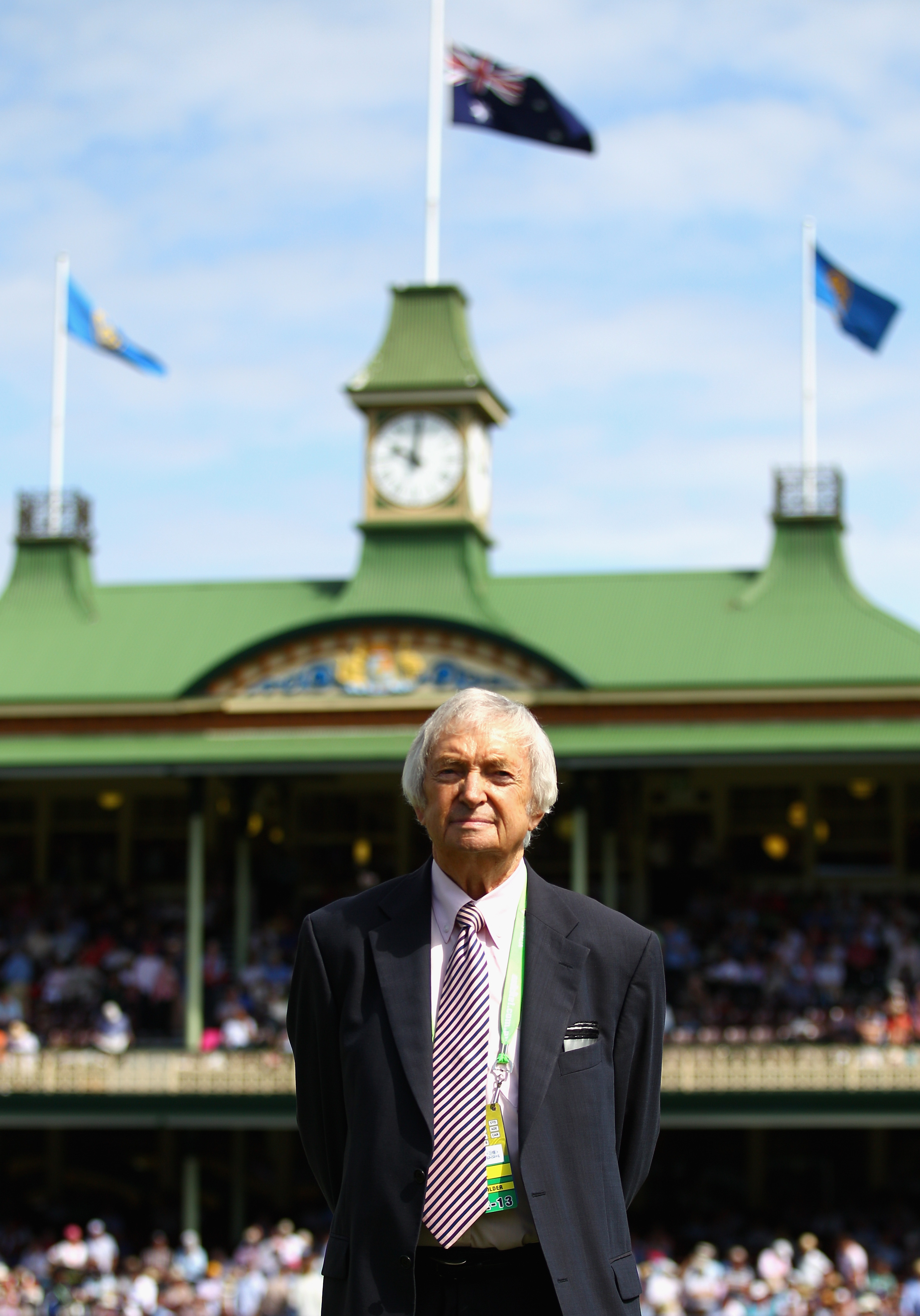 Richie Benaud looks on during day one of the Third Test match between Australia and Sri Lanka at Sydney Cricket Ground on Jan. 3, 2013 in Sydney.