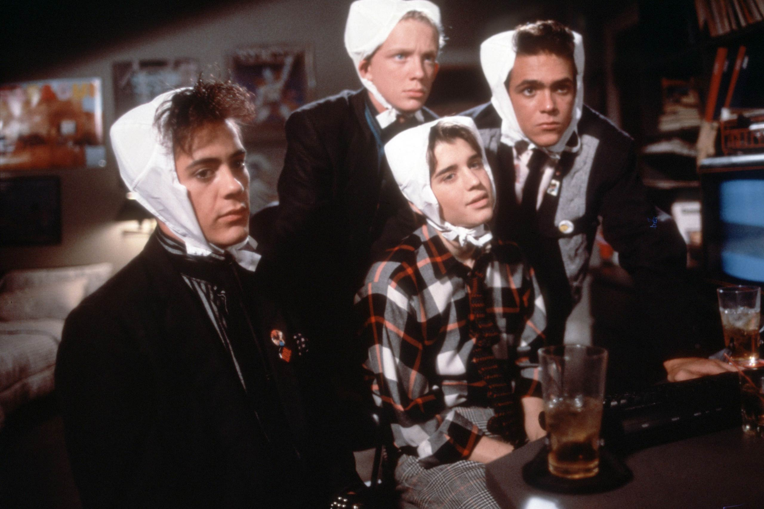 Robert Downey Jr., Anthony Michael Hall, Ilan Mitchell-Smith and Robert Rusler in <i>Weird Science</i>, 1985.