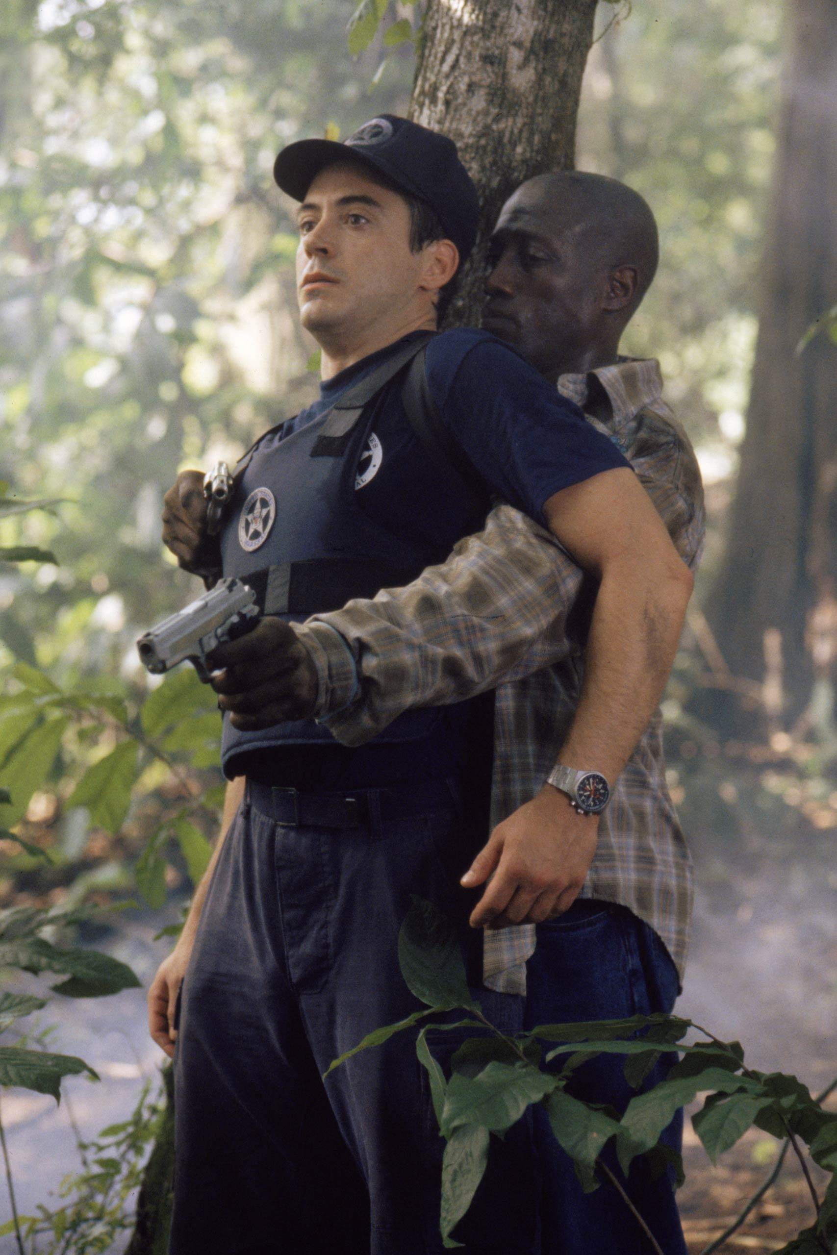 Robert Downey Jr. and Wesley Snipes in <i>U.S. Marshals</i>, 1998.