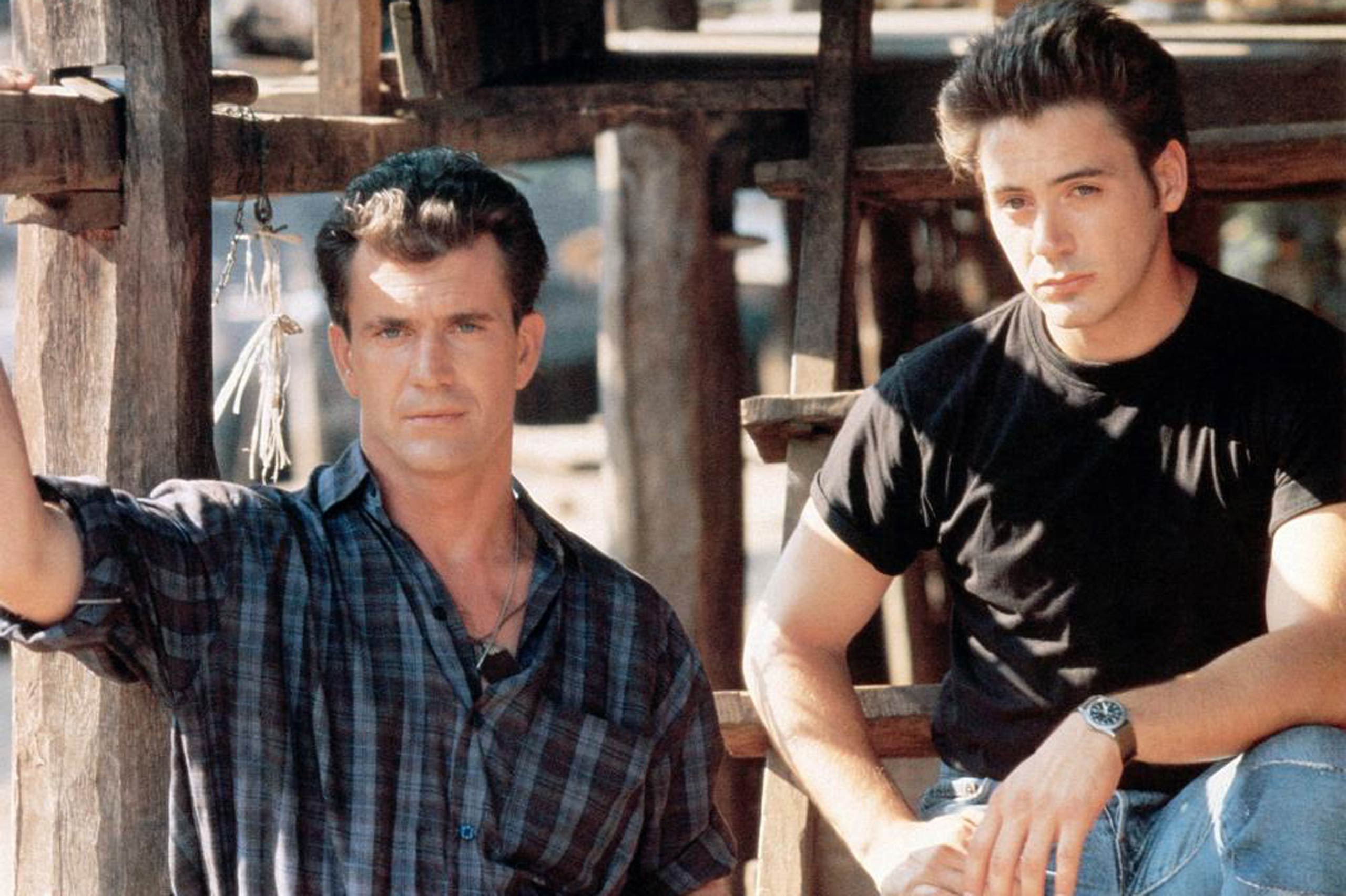 Mel Gibson and Robert Downey, Jr. in <i>Air America</i>, 1990.