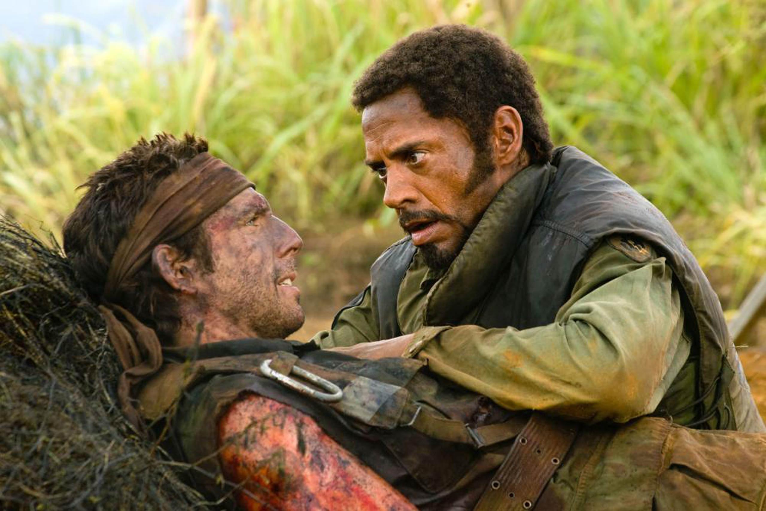 Ben Stiller and Robert Downey Jr. in <i>Tropic Thunder</i>, 2008.