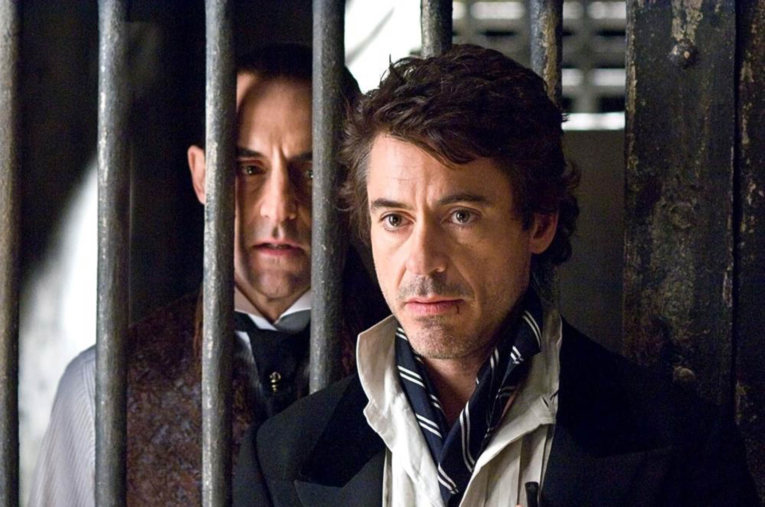 Mark Strong and Robert Downey Jr. in <i>Sherlock Holmes</i>, 2009.