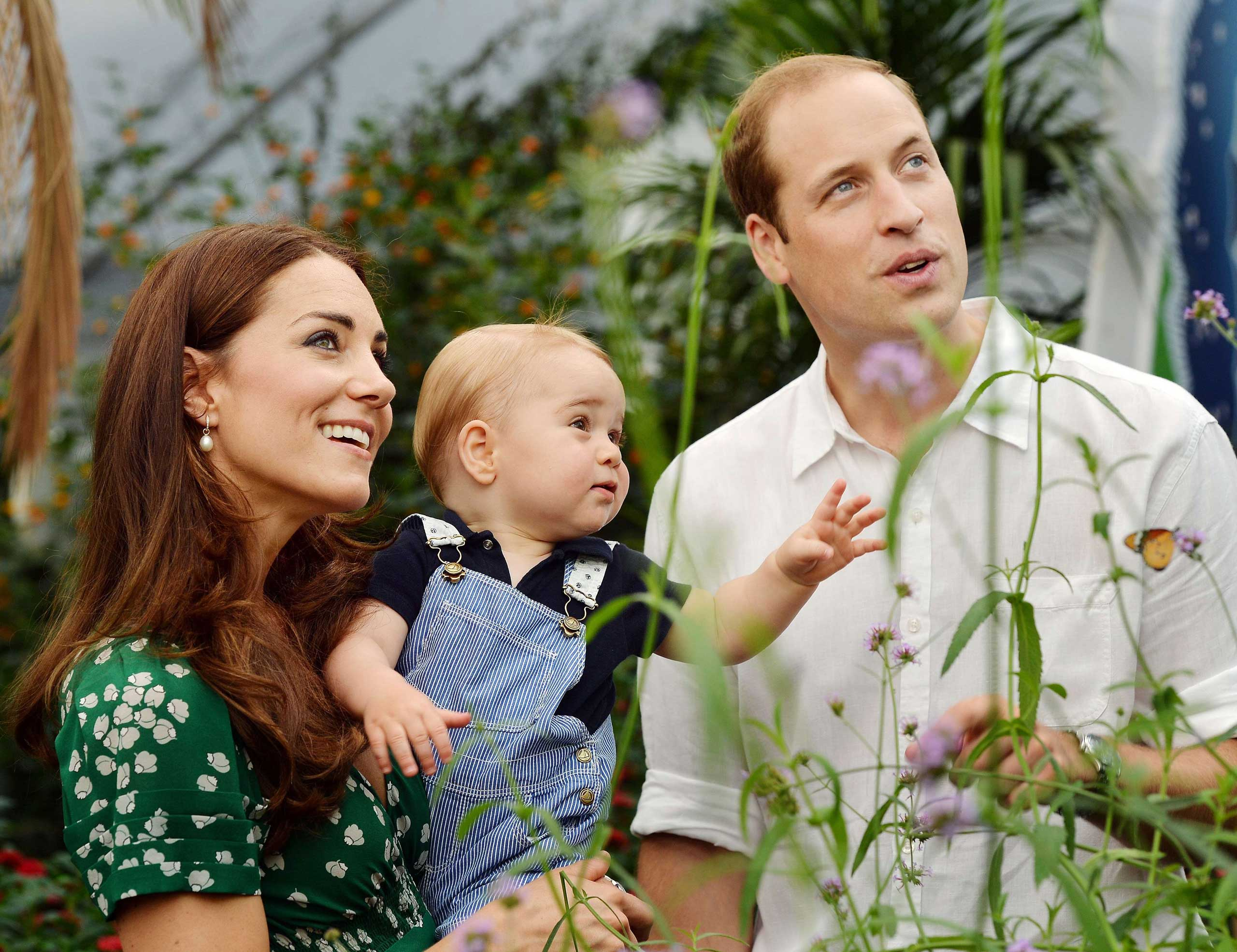 Prince William (L) and Catherine, Duchess of Cambridge with Prince George during a visit to the Sensational Butterflies exhibition at the Natural History Museum in London on July 2, 2014.