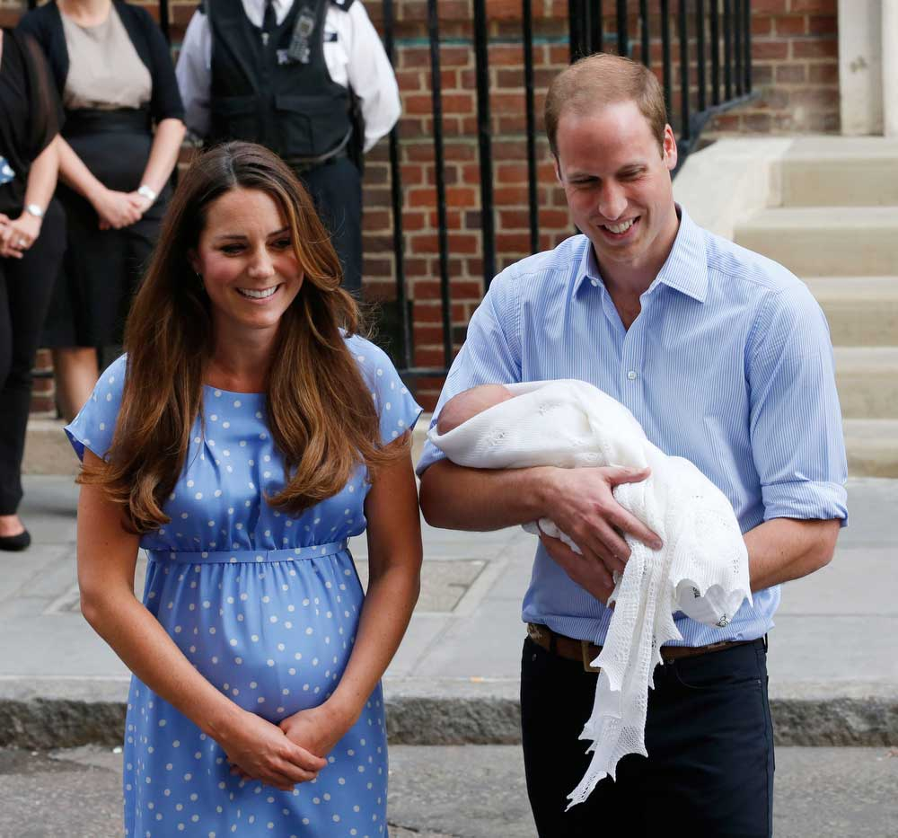 The Duke and Duchess of Cambridge outside the Lindo Wing of St Mary's Hospital London after the birth of their first child, George, in 2013