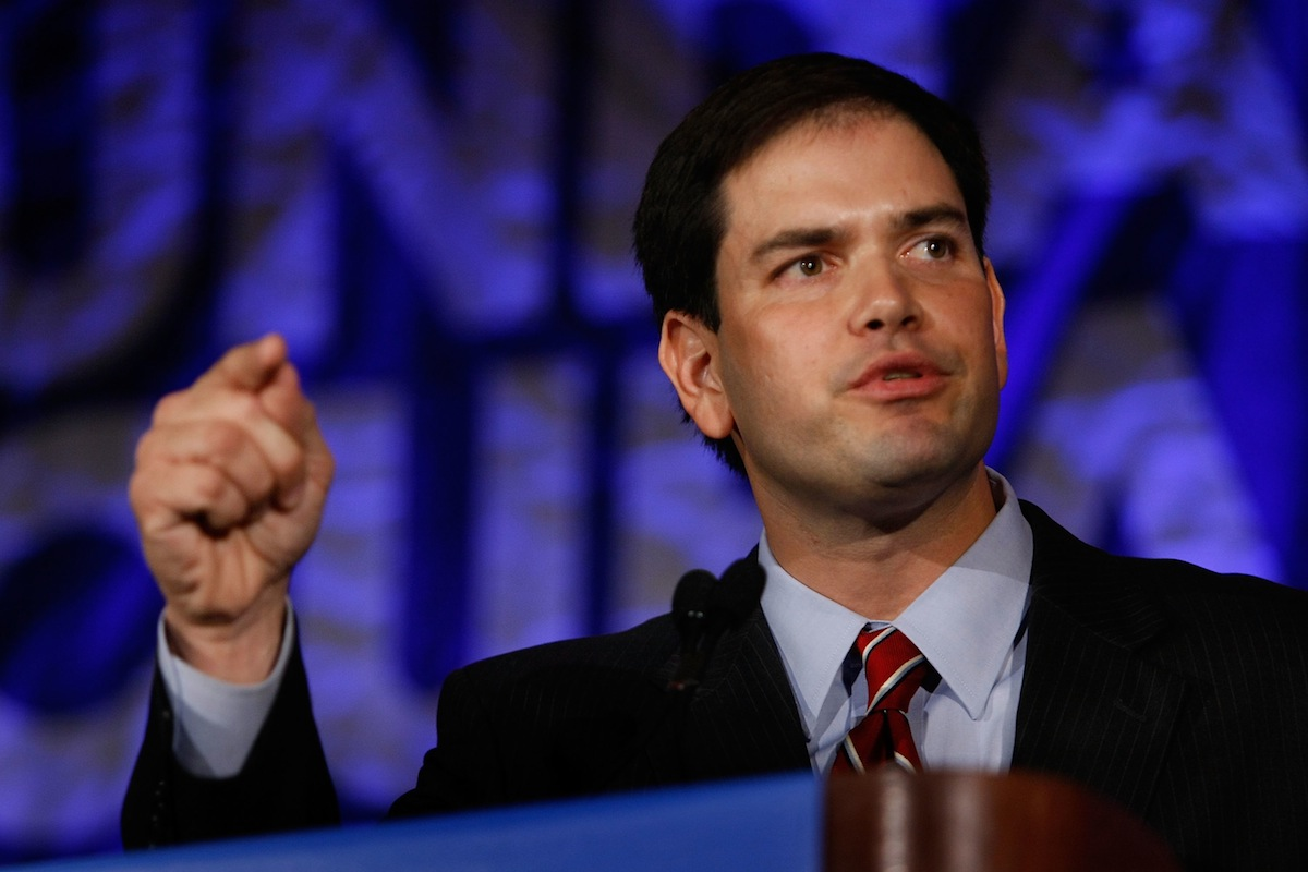 Marco Rubio speaks about Cuba during a Cuban Independence Day Celebration at the InterContinental Hotel May 23, 2008, in Miami