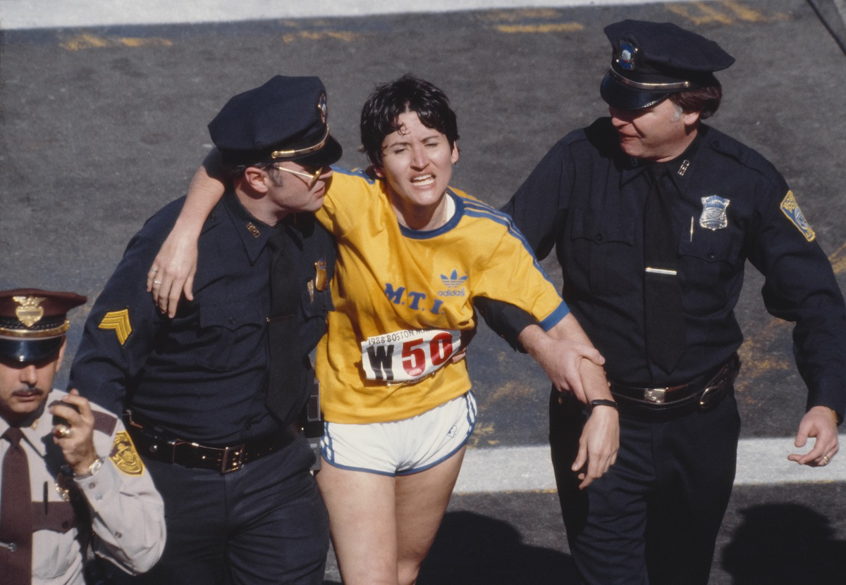 Rosie Ruiz at the finish line of the 1980 Boston Marathon