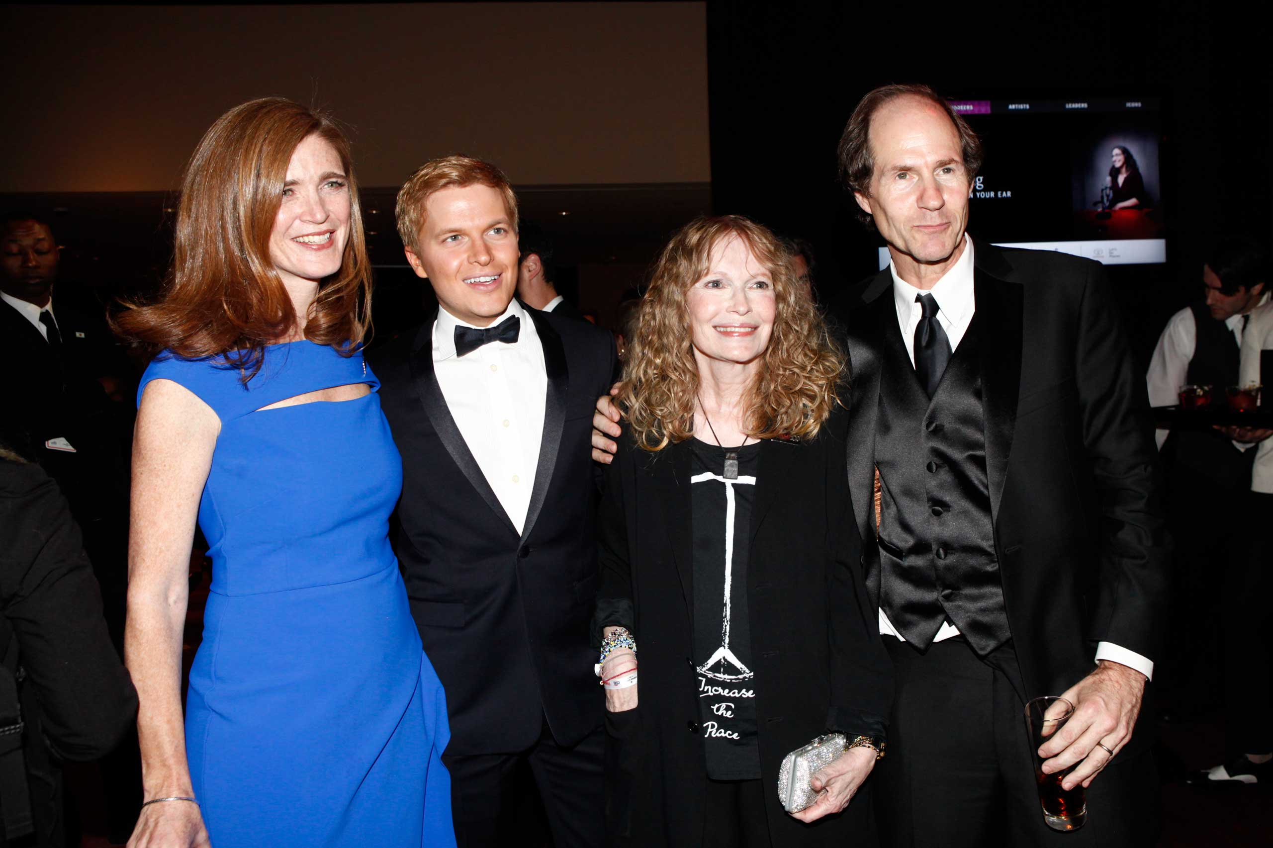 Samantha Powers,  Ronan Farrow, Mia Farrow, and Cass Sunstein attend the TIME 100 Gala at Jazz at Lincoln Center in New York City on April 21, 2015.
