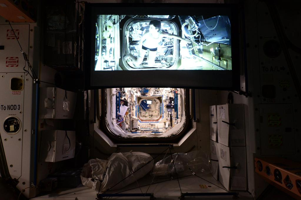 """""""#Movie night in micro #Gravity aboard #ISS on our new HD projector which we use for conferences, tech software, etc.."""" - <a href=""""https://twitter.com/StationCDRKelly/status/592064802014507008"""" target=""""_blank"""">via Twitter</a> on April 25, 2015"""