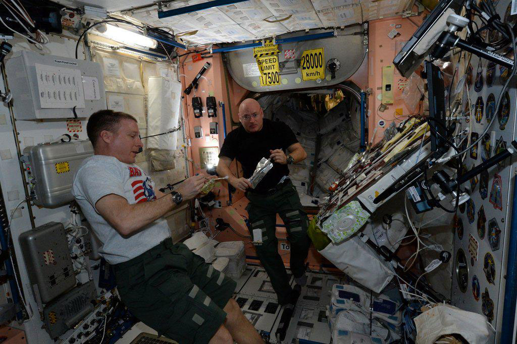"""""""Enjoying Saturday evening dinner with @AstroTerry on the #ISS"""" - <a href=""""https://twitter.com/StationCDRKelly/status/584483906856038400"""" target=""""_blank"""">via Twitter</a> on April 4, 2015"""