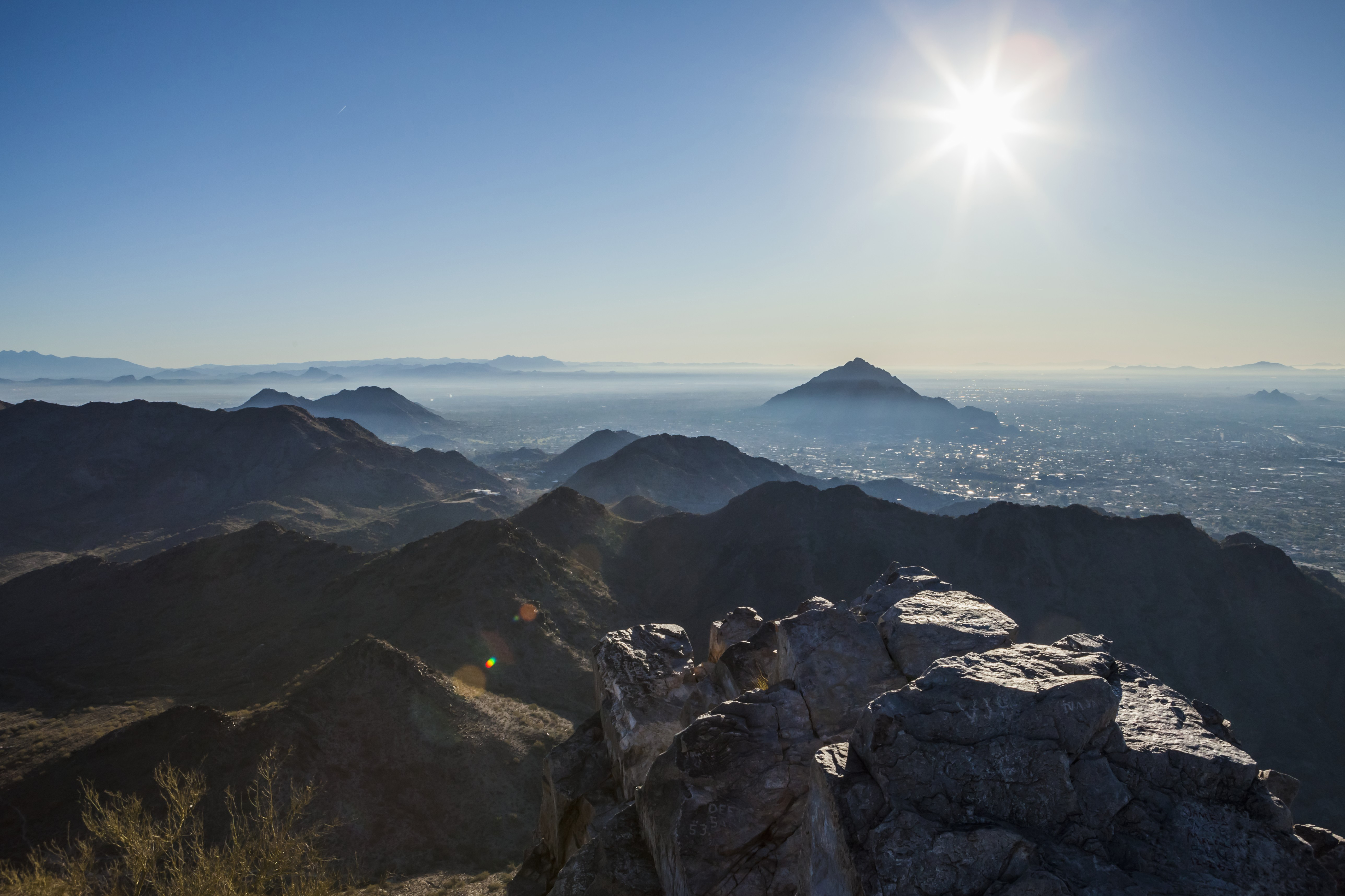 Morning view from the top of Piestawa Peak looking Southeast over Scottsdale, Paradise Valley, and Phoenix, Ariz.