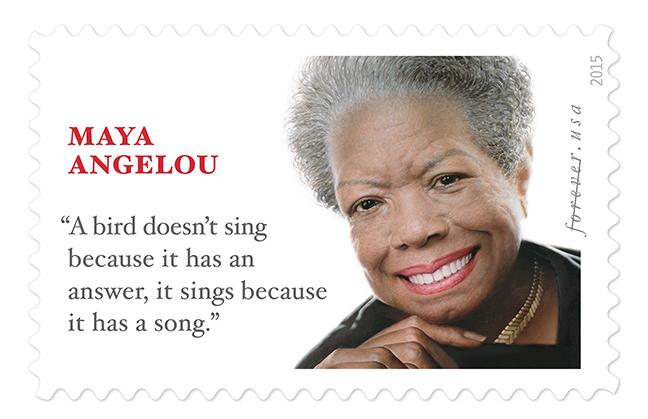 The Maya Angelou Forever Stamp, designed by Ethel Kessler