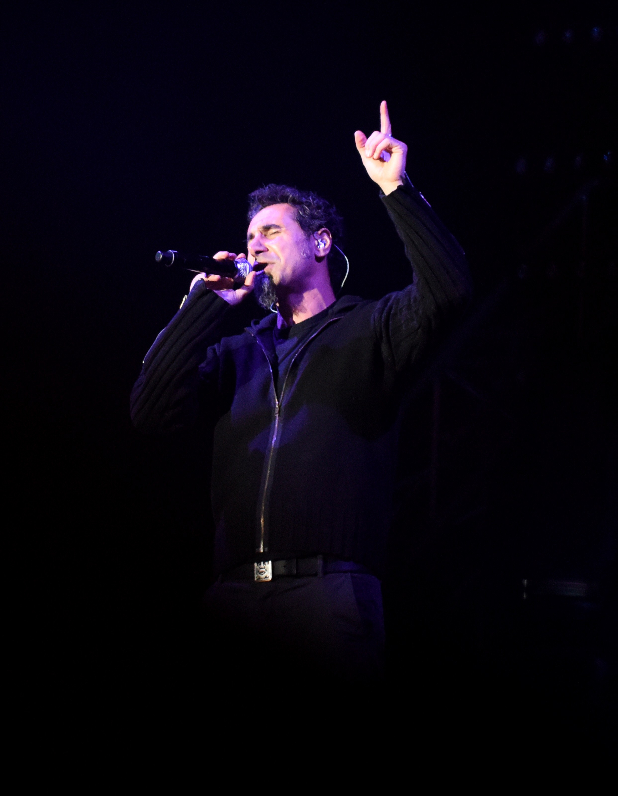 Serj Tankian of the hard rock band System of a Down performs at Yerevan's Republic Square on April 23, 2015.
