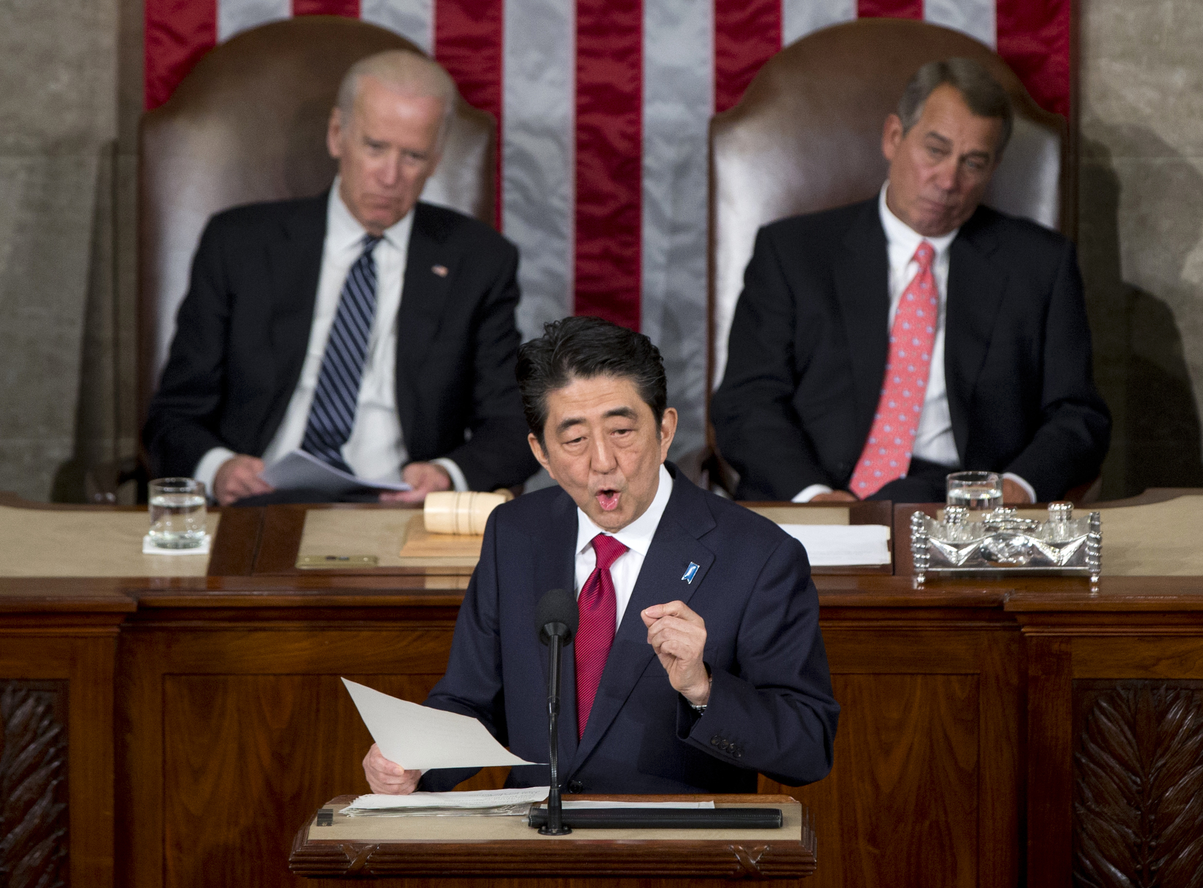 Japanese Prime Minister Shinzo Abe speaks before a joint meeting of Congress, April 29, 2015, on Capitol Hill in Washington.