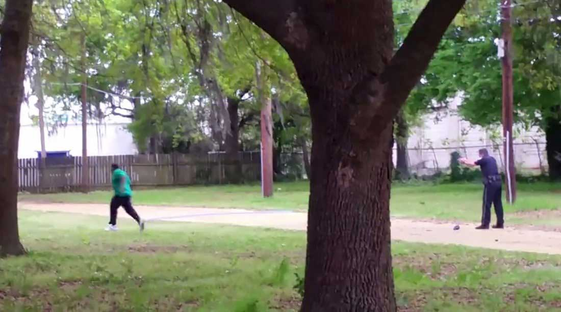 North Charleston police officer Michael Slager is seen allegedly shooting 50-year-old Walter Scott in the back as he runs away, in this still image from video in North Charleston, S.C. taken April 4, 2015.