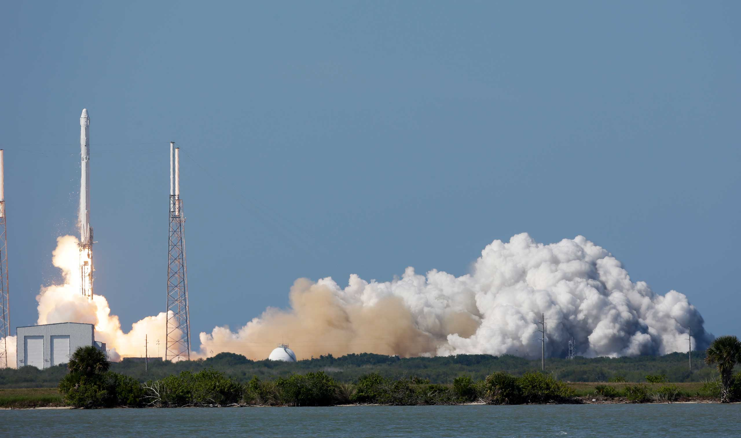 The Falcon 9 SpaceX rocket lifts off from launch at the Cape Canaveral Air Force Station in Cape Canaveral, Fla., on Apr. 14, 2015.