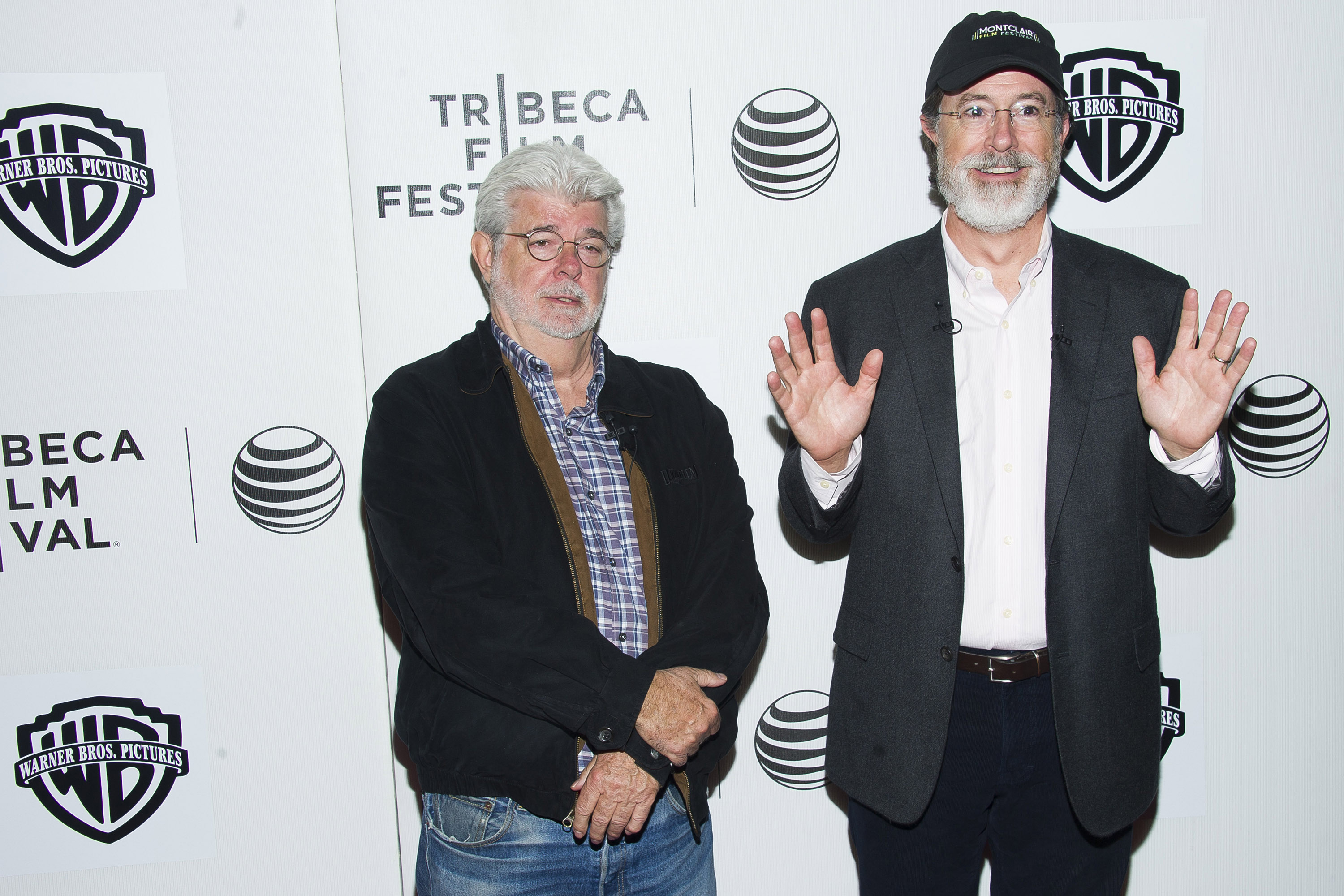George Lucas, left, and Stephen Colbert attend the Tribeca Talks: Director Series during the Tribeca Film Festival at the BMCC Tribeca Performing Arts Center on April 17, 2015, in New York.