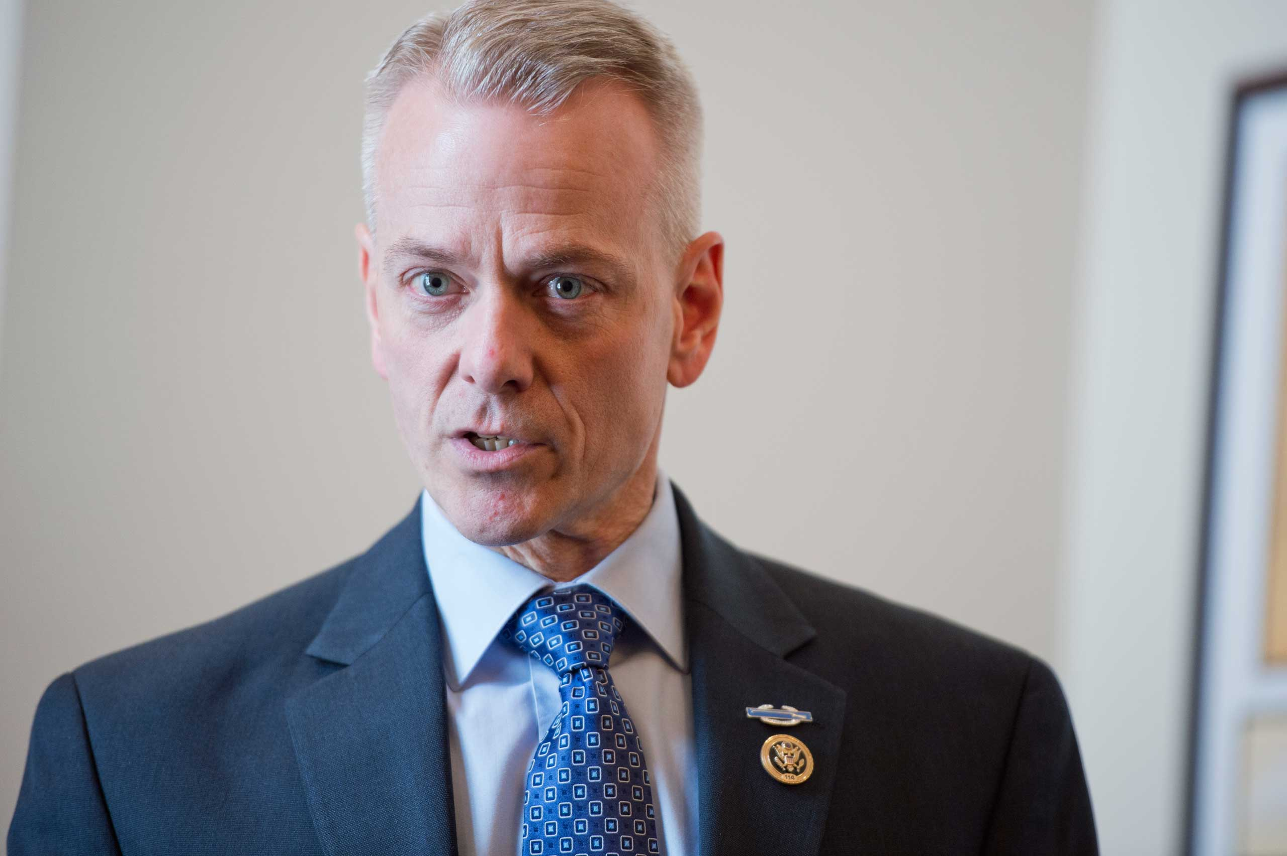 Rep. Steve Russell, R-Okla., speaks during an off the record meeting with reporters and GOP freshmen members in Cannon Building, March 24, 2015.