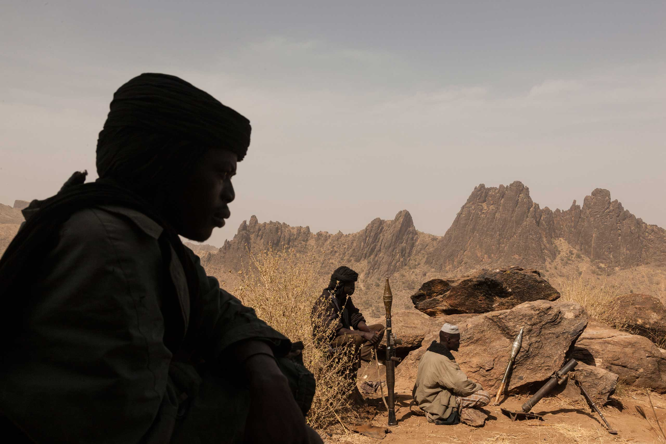 Rebels of the Sudan Liberation Army, led by Abdul Wahid (SLA-AW), defended the top of a mountain from government forces in Central Darfur, Sudan, on March 4, 2015.