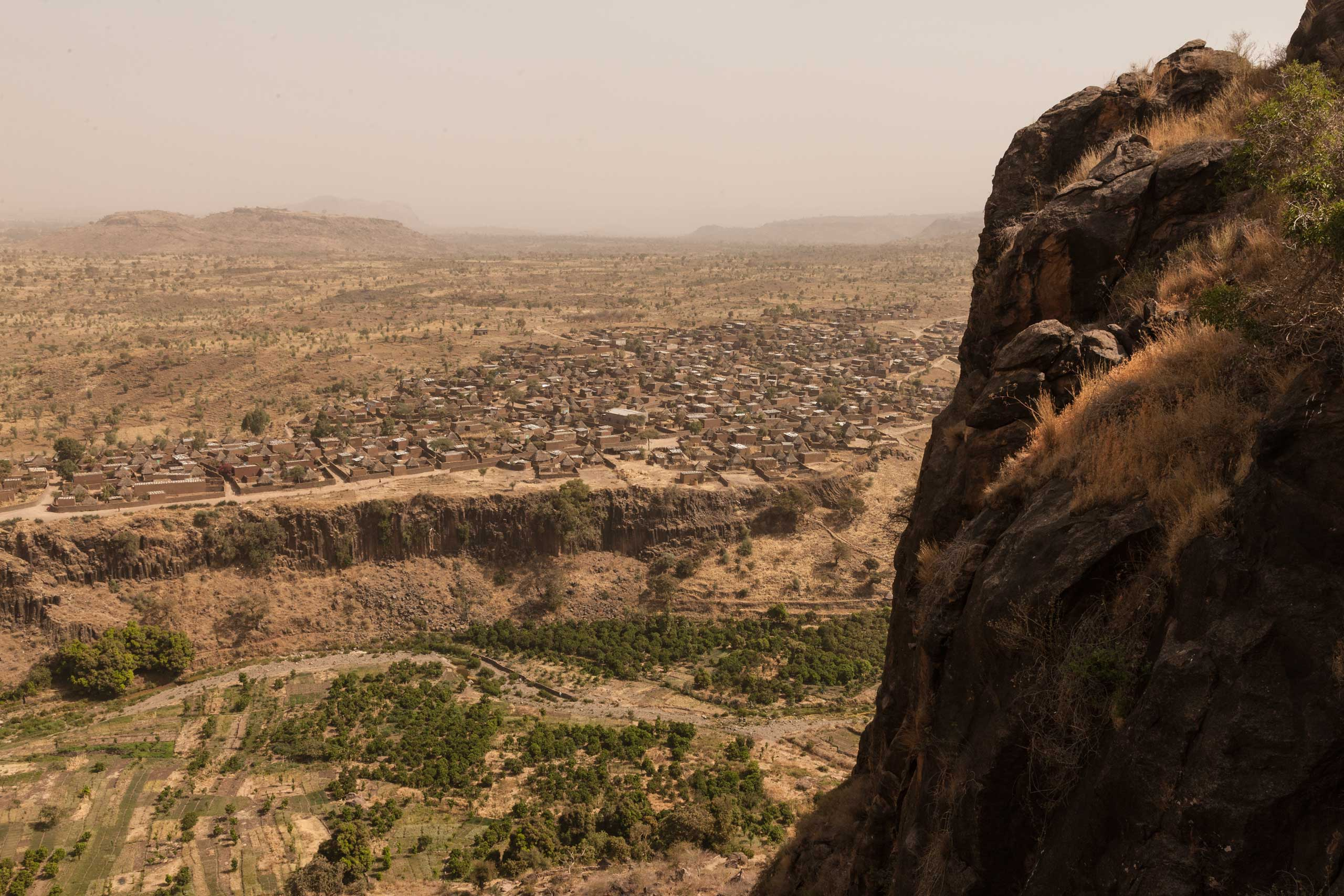 An overhead view from the rebel territory that overlooks the town of Kroun in Jebel Marra, Central Darfur, Sudan, on March 4, 2015.