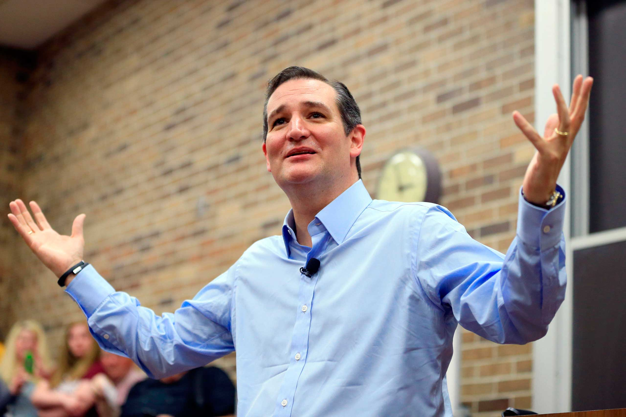 Republican presidential candidate Sen. Ted Cruz, R-Texas, speaks during a town hall event at Morningside College in Sioux City, Iowa on April 1, 2015.