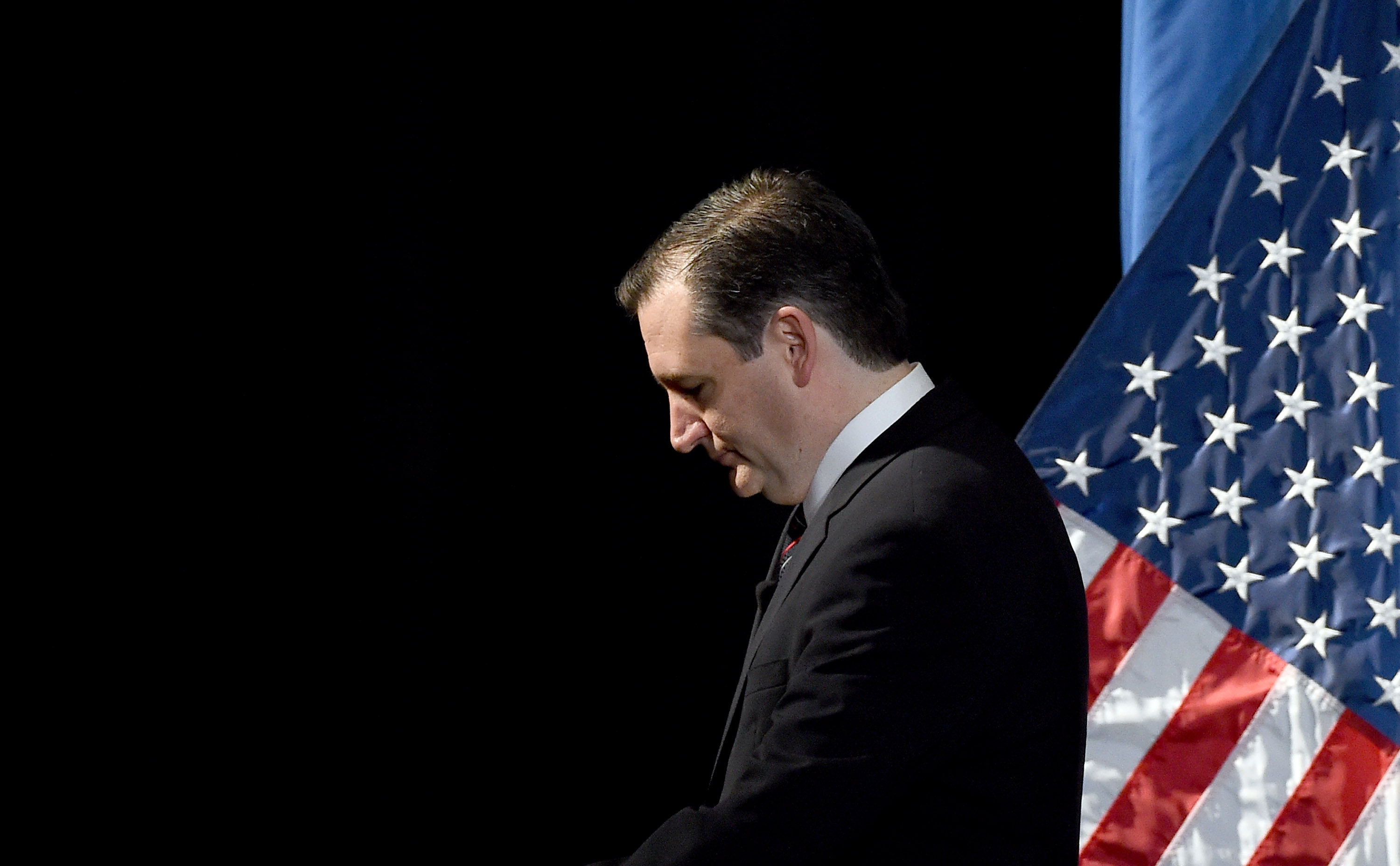 Republican presidential candidate U.S. Sen. Ted Cruz  leaves the stage after speaking during the Republican Jewish Coalition spring leadership meeting at The Venetian Las Vegas on April 25, 2015 in Las Vegas, Nevada.