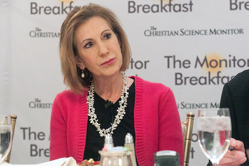 Carly Fiorina speaking at the Christian Science Monitor breakfast in Washington, D.C. on April 16, 2015.