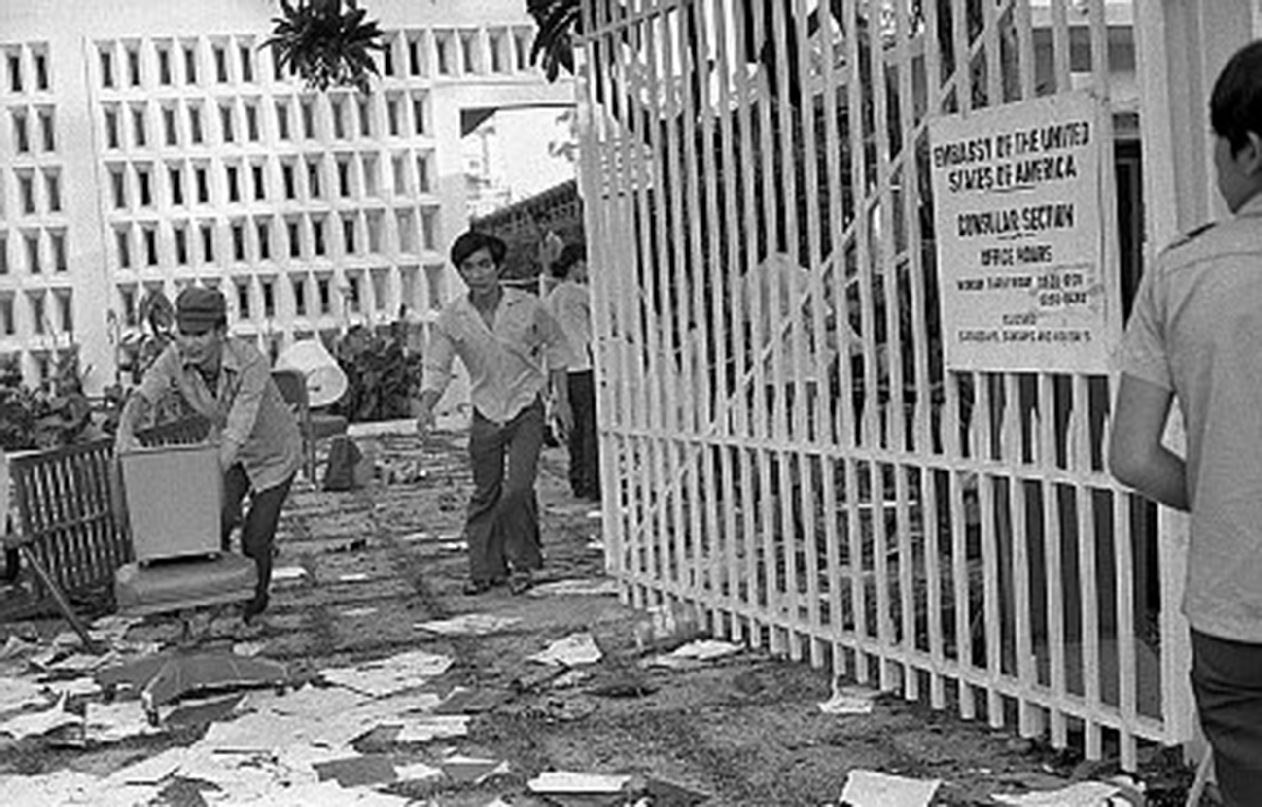 Right after the U.S. Embassy security guards were evacuated, South Vietnamese civilians moved into the embassy and began looting. Even though a 24-hour curfew had been imposed on the city, the streets were filled with people carrying off all they could steal.