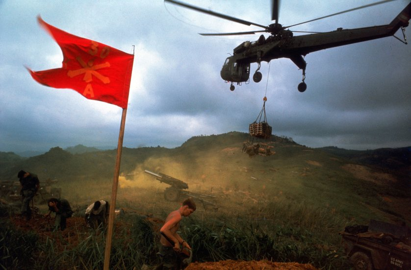 An American 1st Air Cavalry helicopter airlifts supplies into a Marine outpost during Operation Pegasus in Vietnam in 1968.