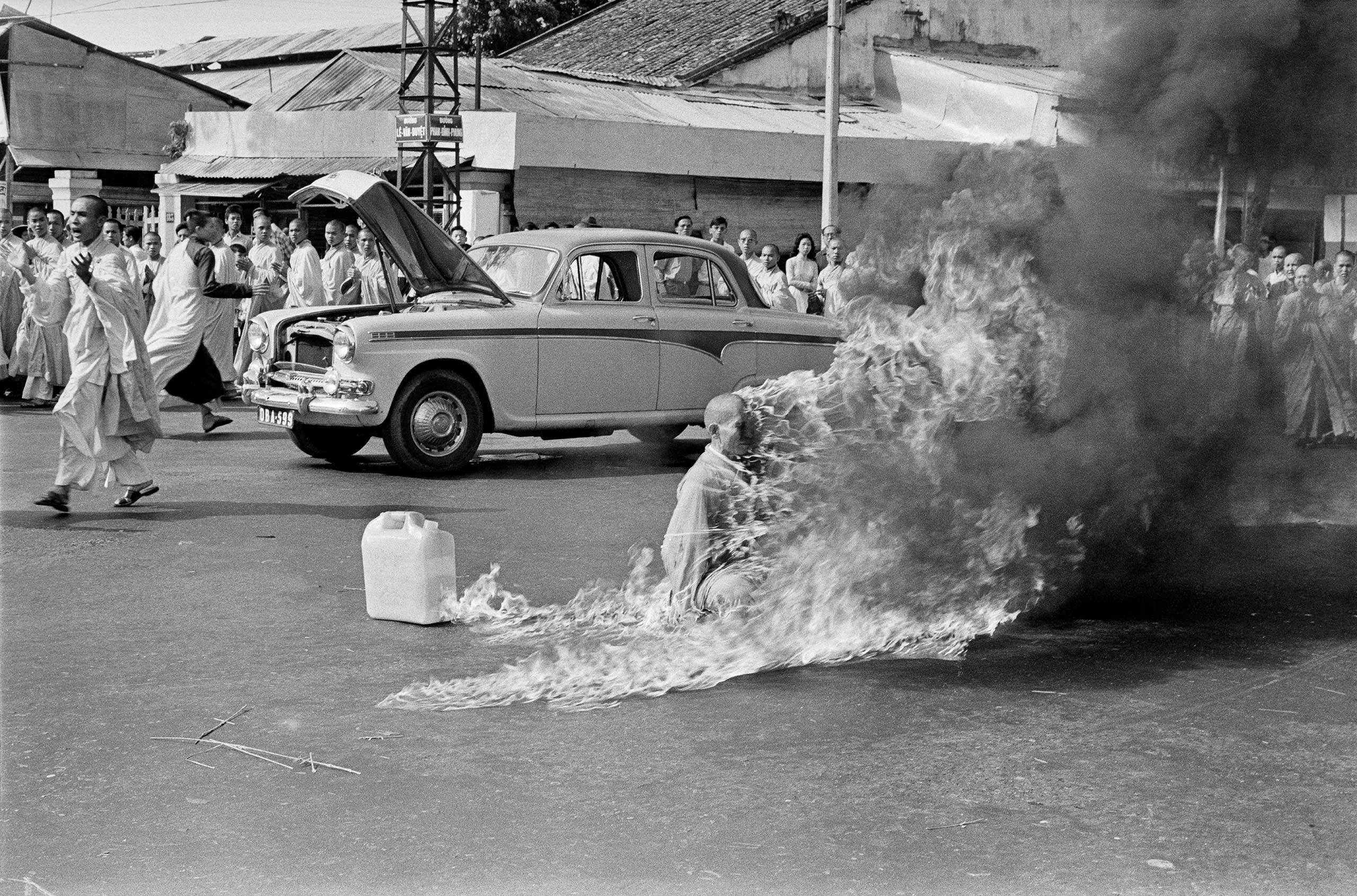 The Reverend Thich Quang Duc, a 73-year-old Buddhist monk, soaked himself in petrol before setting himself on fire to himself and burning in front of thousands of onlookers at a main highway intersection in Saigon on June 11, 1963.
