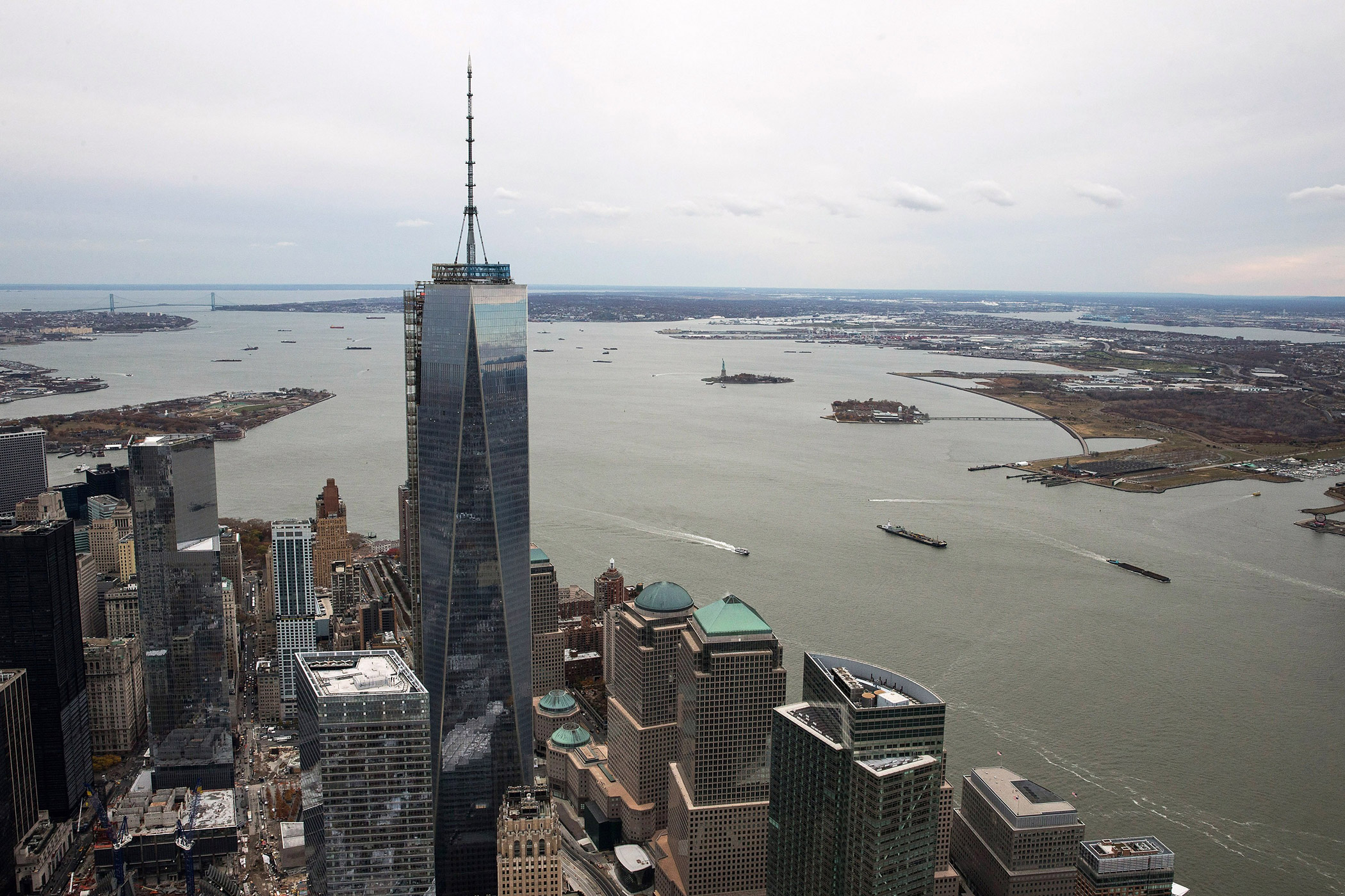One World Trade Center towers over lower Manhattan on Nov. 12, 2013 in New York City.