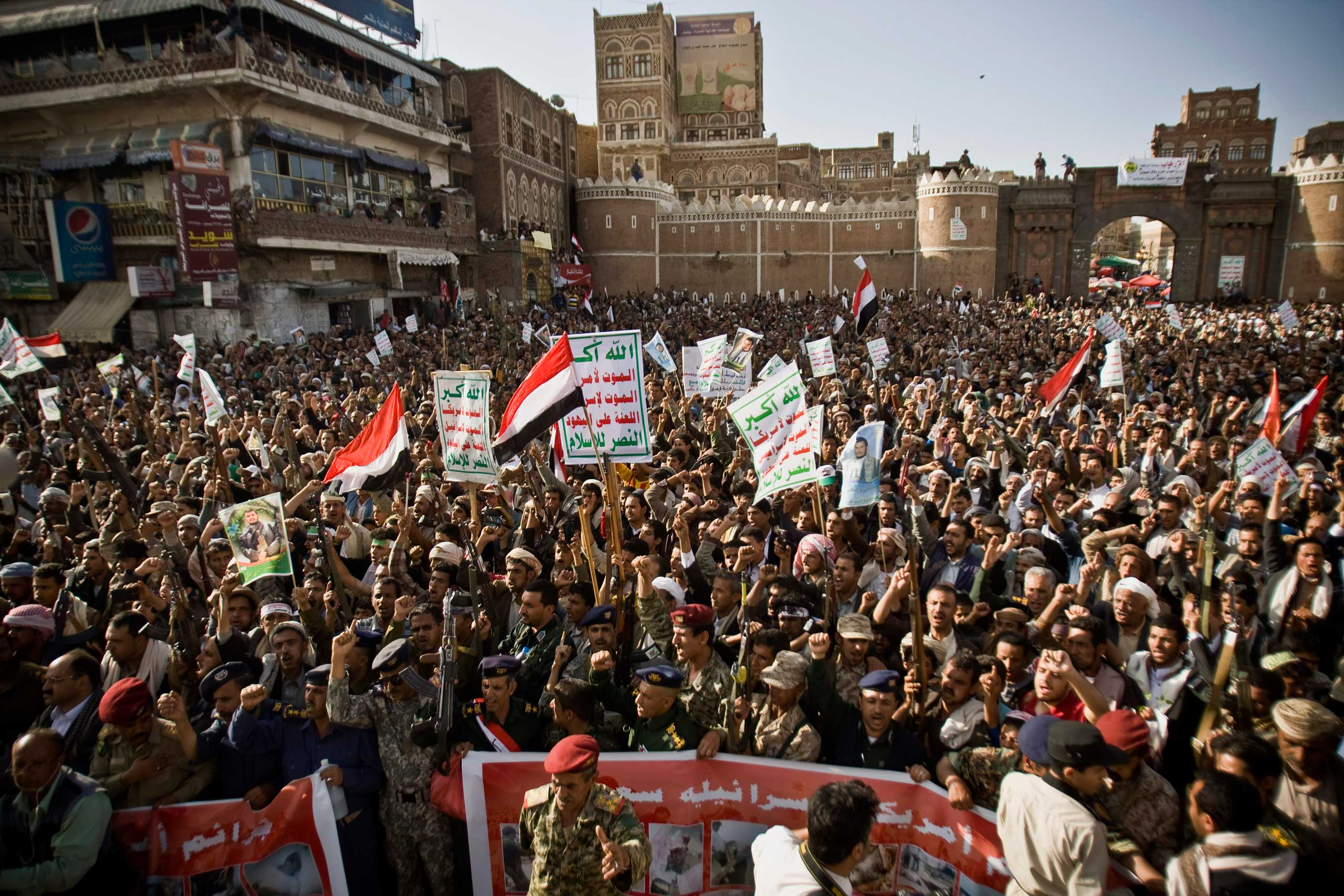 Shiite rebels, known as Houthis, chant slogans to protest against Saudi-led airstrikes, during a rally in Sanaa, Yemen, Wednesday, April 1, 2015.