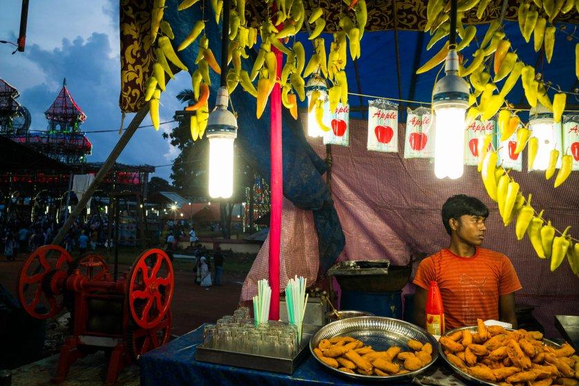 Ernakulam.  Hindu festival. Elephants, tiger people