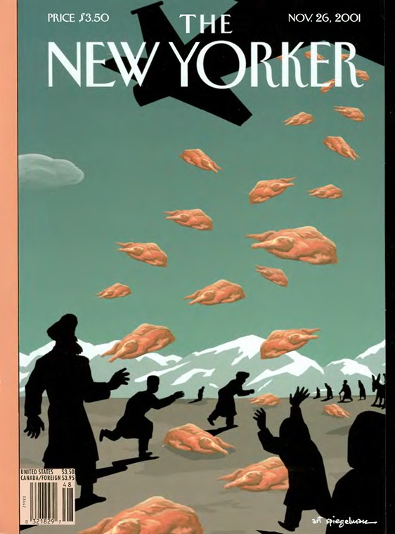 The Nov. 26, 2001 issue of the <i>New Yorker</i>, after the fall of Kabul, in which American and British troops attacked the Taliban with air strikes.